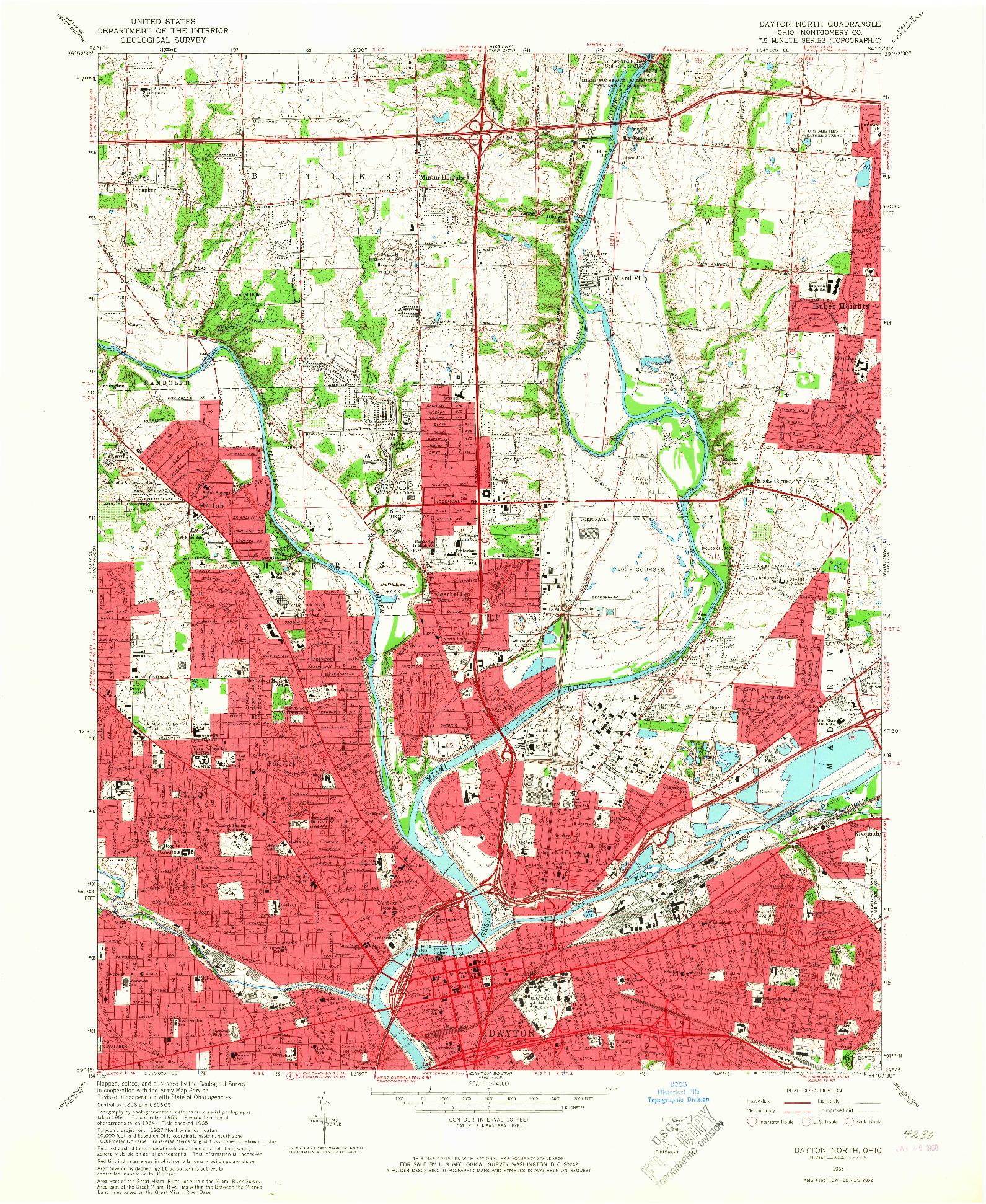 USGS 1:24000-SCALE QUADRANGLE FOR DAYTON NORTH, OH 1965