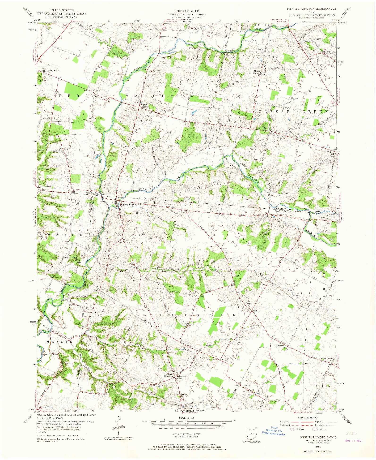 USGS 1:24000-SCALE QUADRANGLE FOR NEW BURLINGTON, OH 1955