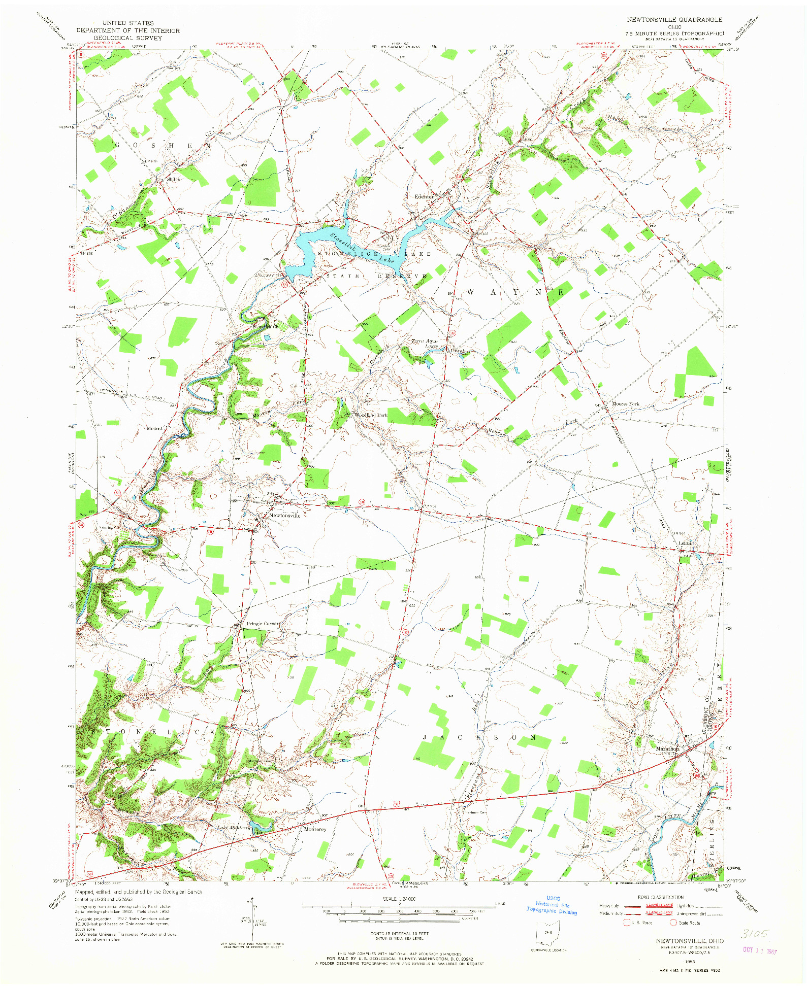 USGS 1:24000-SCALE QUADRANGLE FOR NEWTONSVILLE, OH 1953