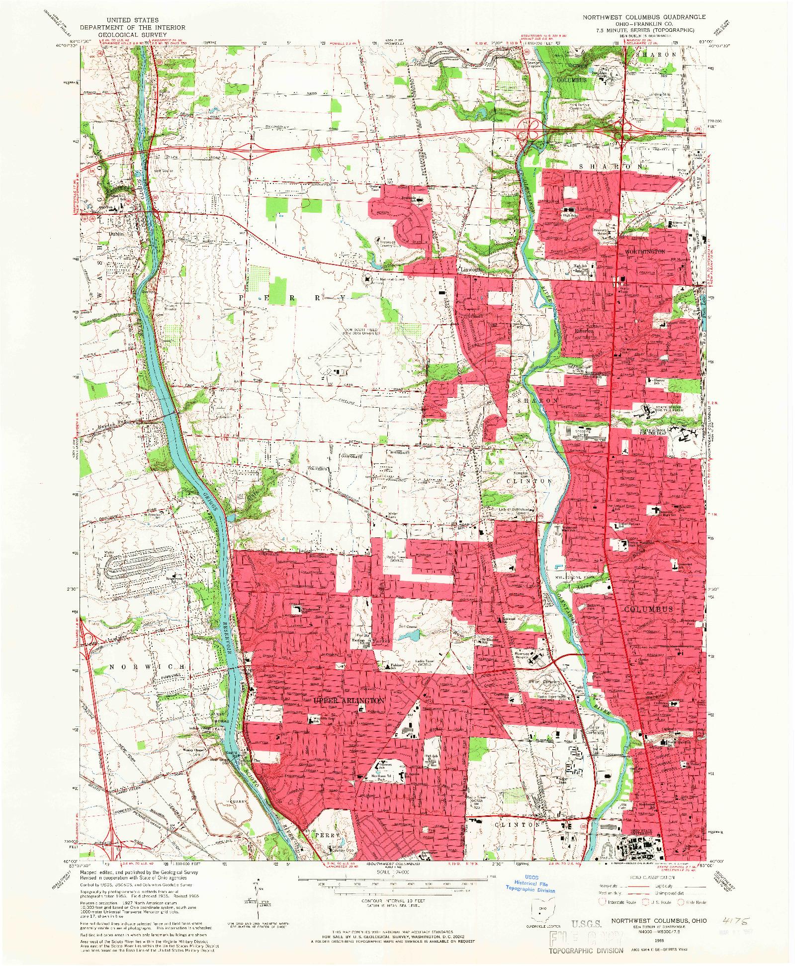 USGS 1:24000-SCALE QUADRANGLE FOR NORTHWEST COLUMBUS, OH 1965