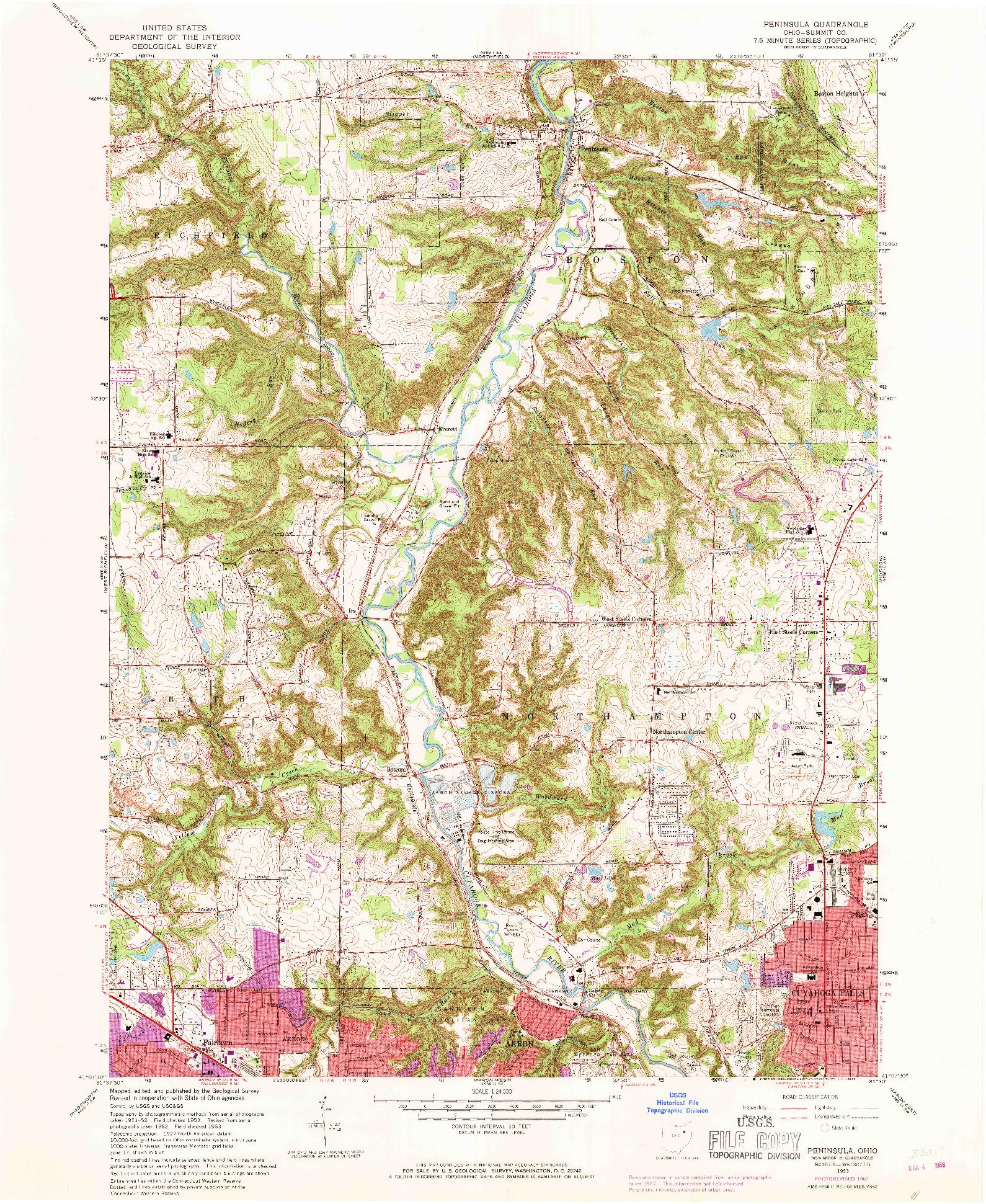 USGS 1:24000-SCALE QUADRANGLE FOR PENINSULA, OH 1963