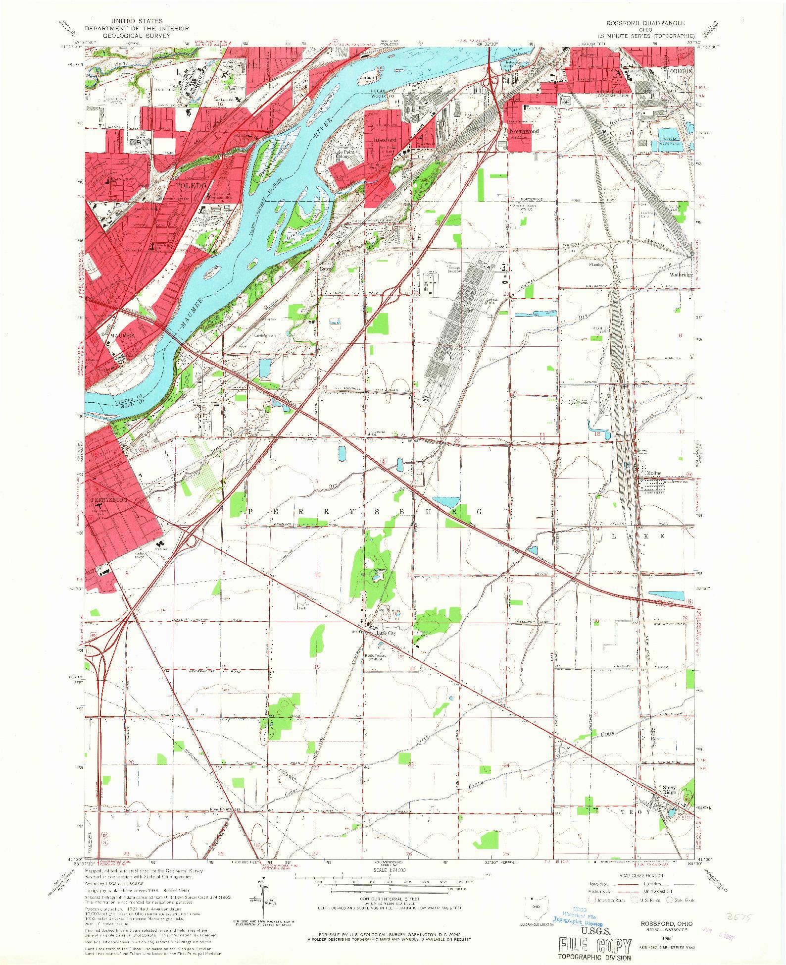 USGS 1:24000-SCALE QUADRANGLE FOR ROSSFORD, OH 1965