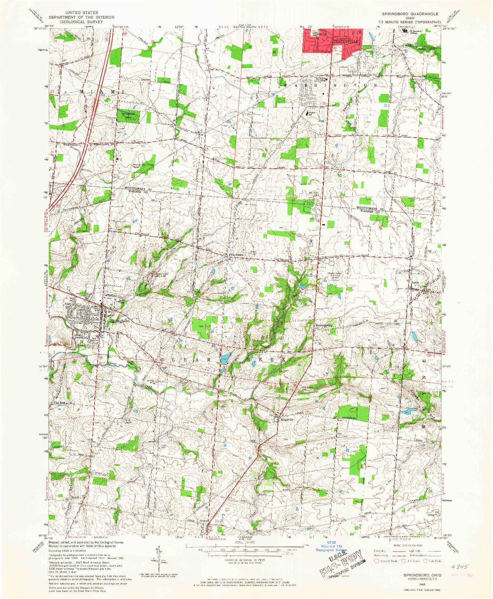 USGS 1:24000-SCALE QUADRANGLE FOR SPRINGBORO, OH 1965