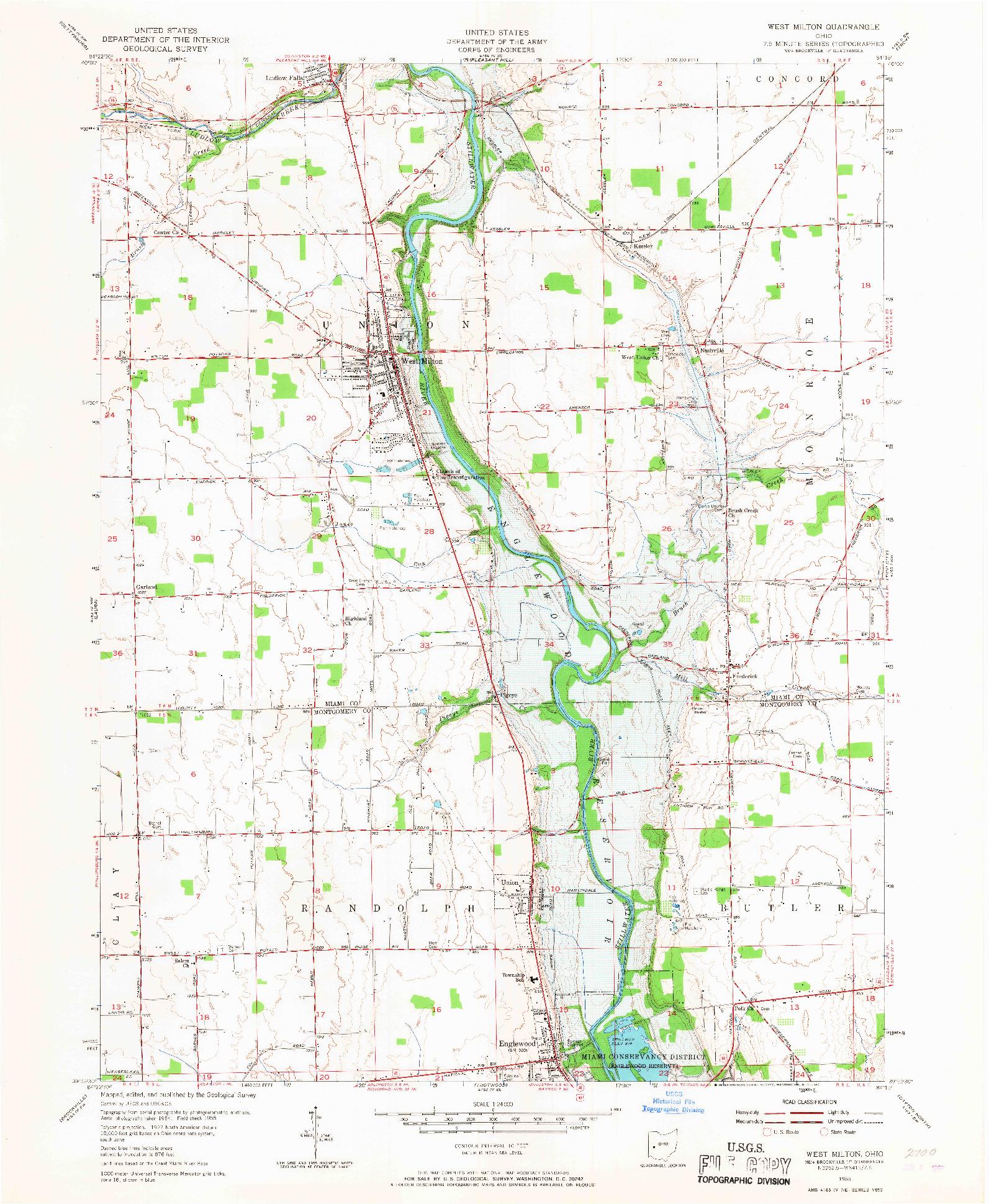 USGS 1:24000-SCALE QUADRANGLE FOR WEST MILTON, OH 1955