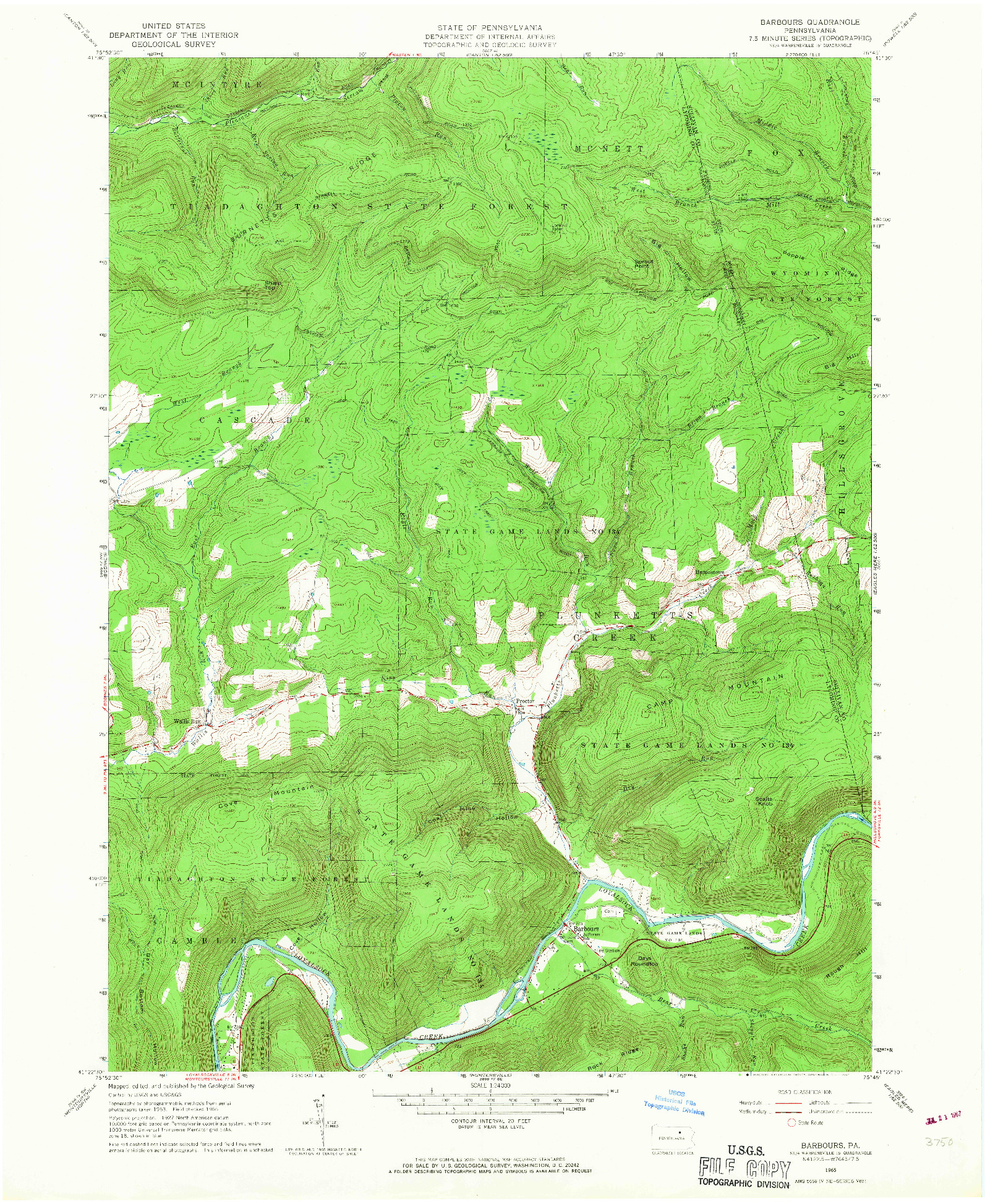 USGS 1:24000-SCALE QUADRANGLE FOR BARBOURS, PA 1965