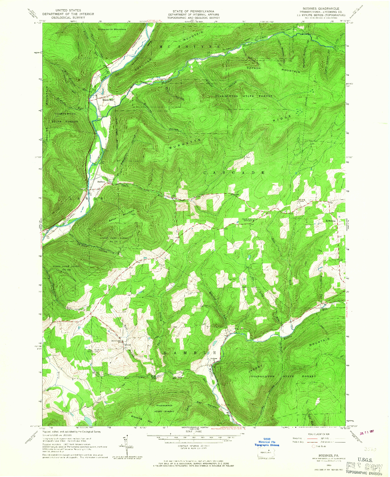 USGS 1:24000-SCALE QUADRANGLE FOR BODINES, PA 1965