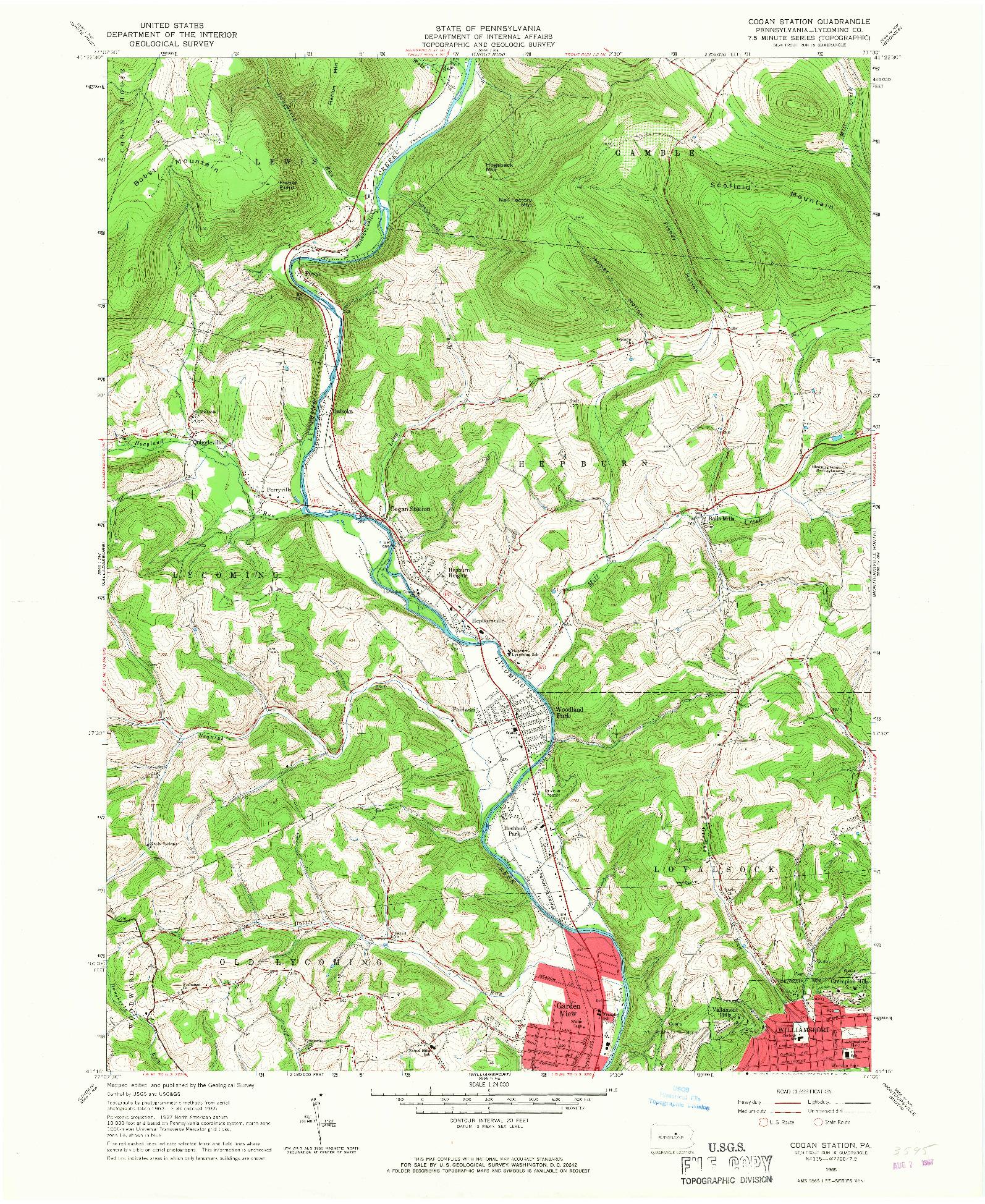 USGS 1:24000-SCALE QUADRANGLE FOR COGAN STATION, PA 1965