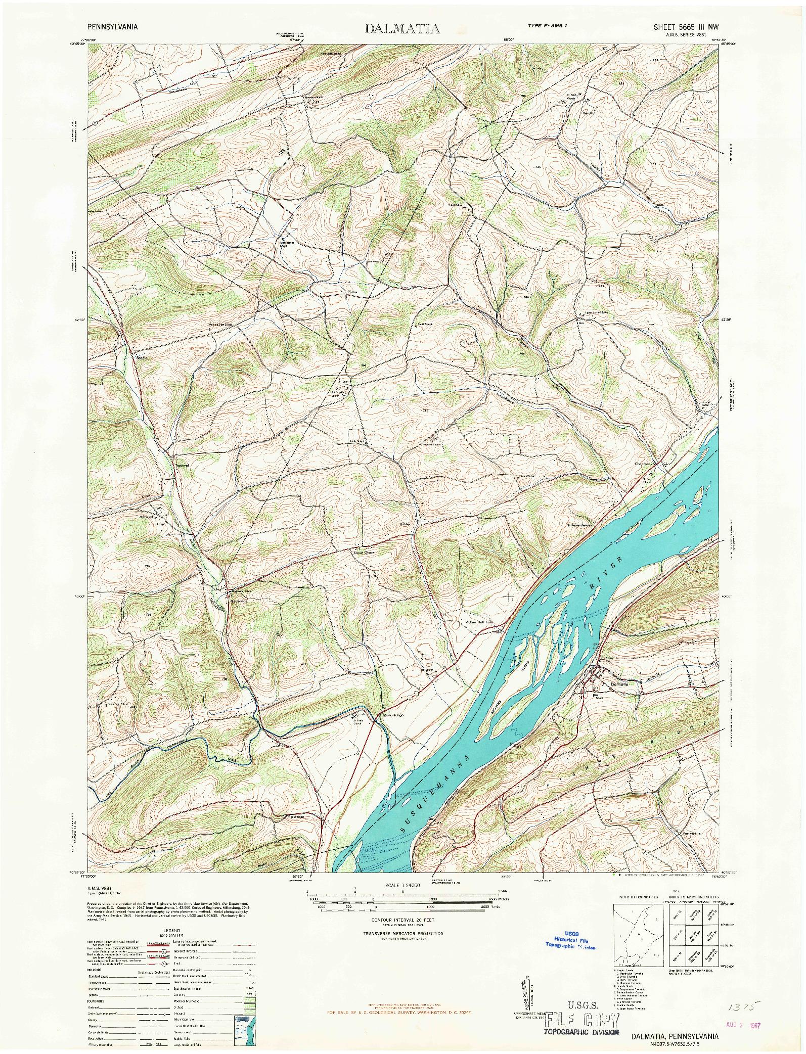 USGS 1:24000-SCALE QUADRANGLE FOR DALMATIA, PA 1947