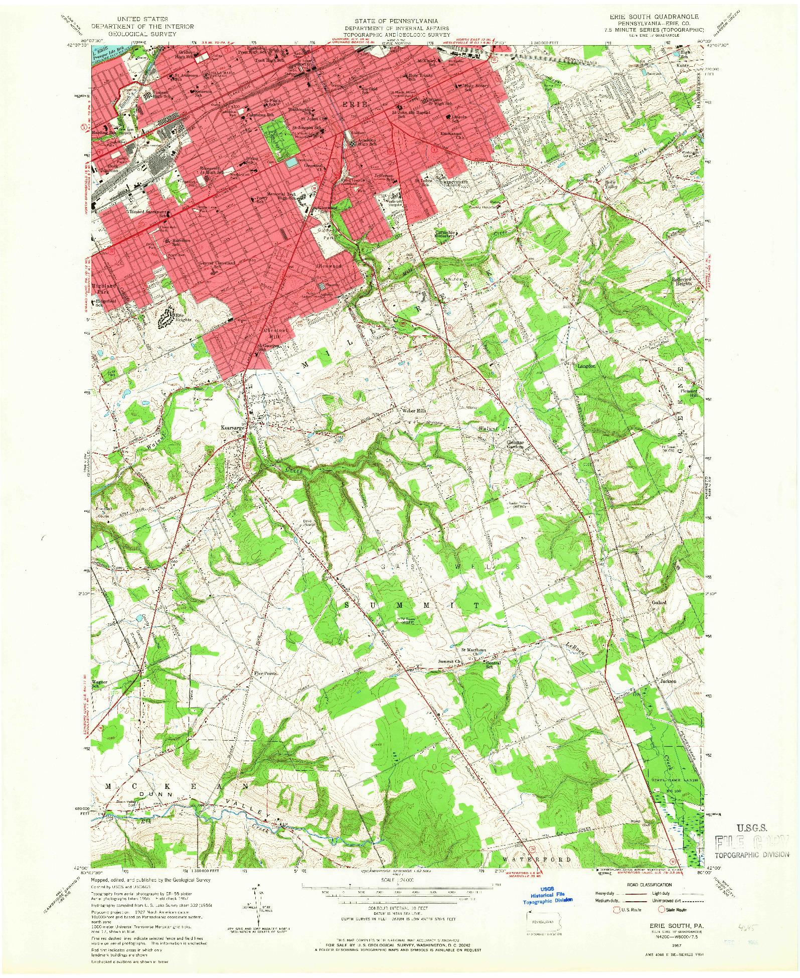 USGS 1:24000-SCALE QUADRANGLE FOR ERIE SOUTH, PA 1957