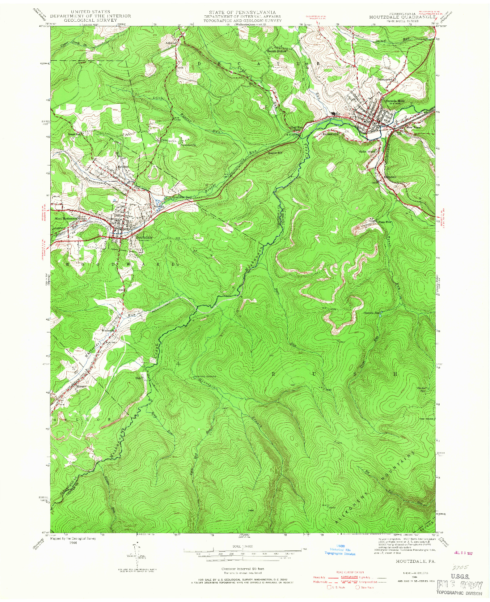 USGS 1:24000-SCALE QUADRANGLE FOR HOUTZDALE, PA 1944