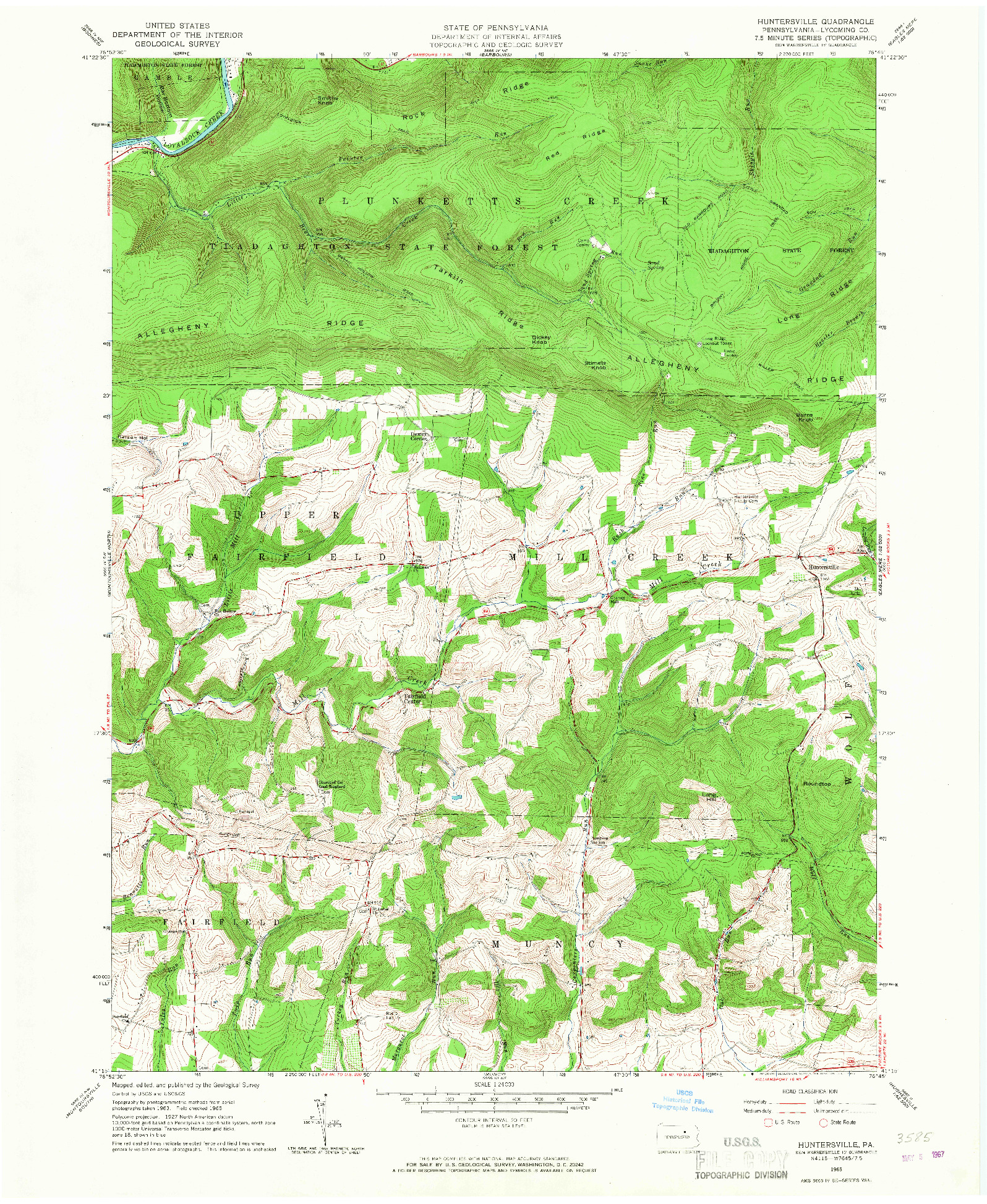 USGS 1:24000-SCALE QUADRANGLE FOR HUNTERSVILLE, PA 1965