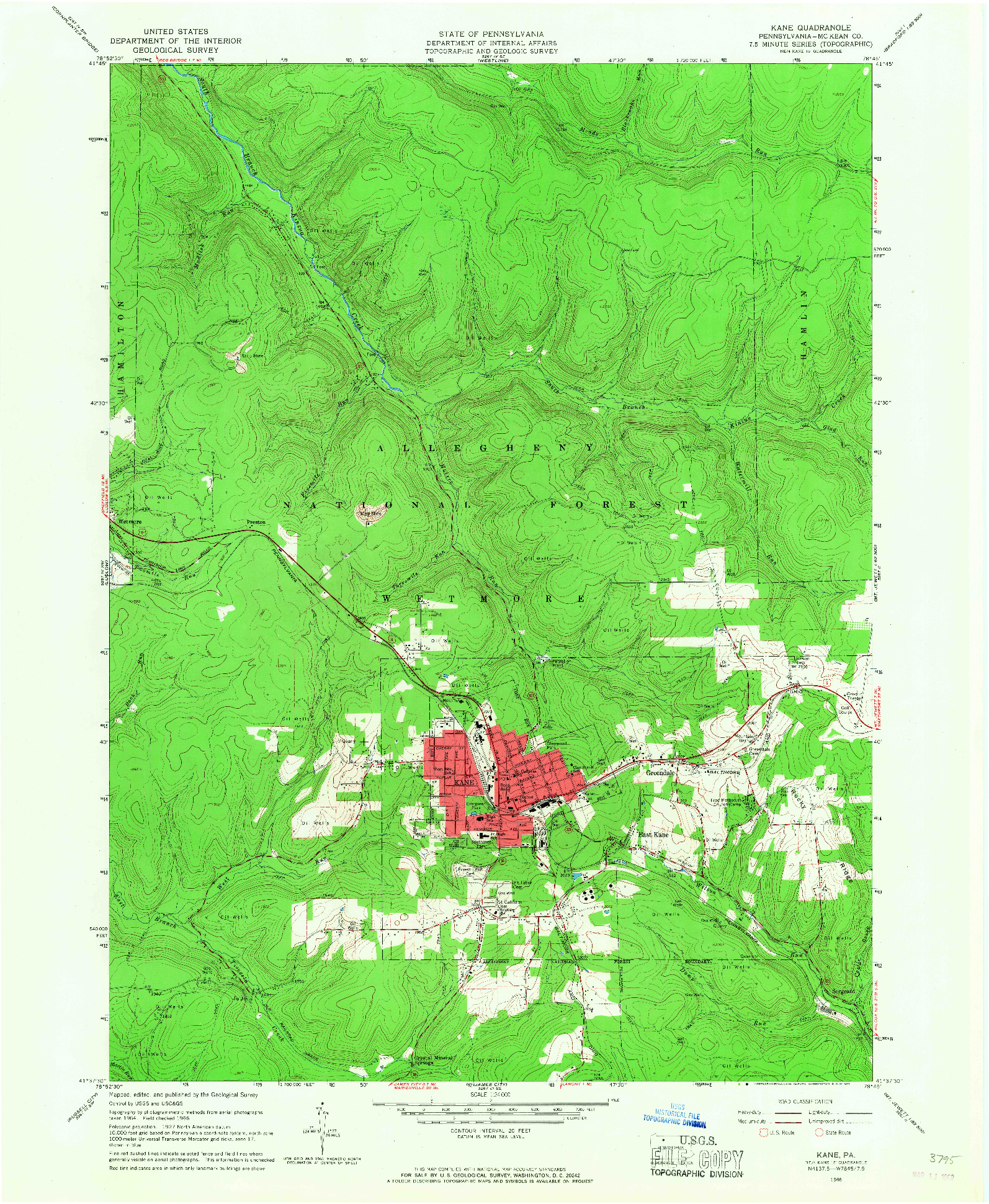 USGS 1:24000-SCALE QUADRANGLE FOR KANE, PA 1966