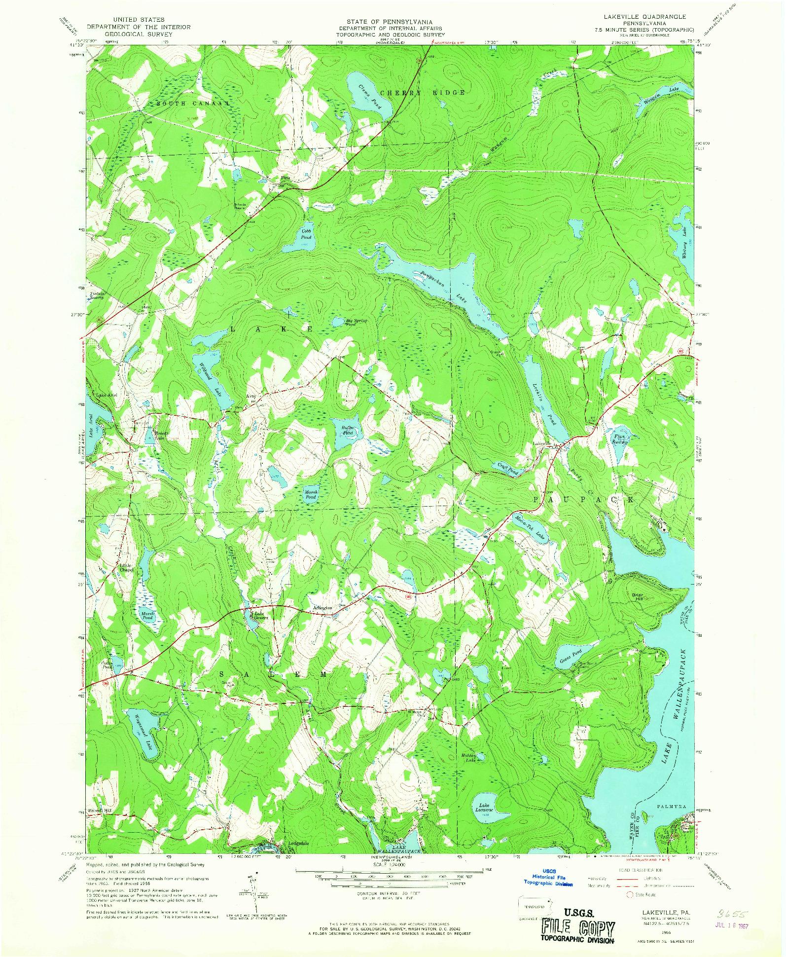 USGS 1:24000-SCALE QUADRANGLE FOR LAKEVILLE, PA 1966