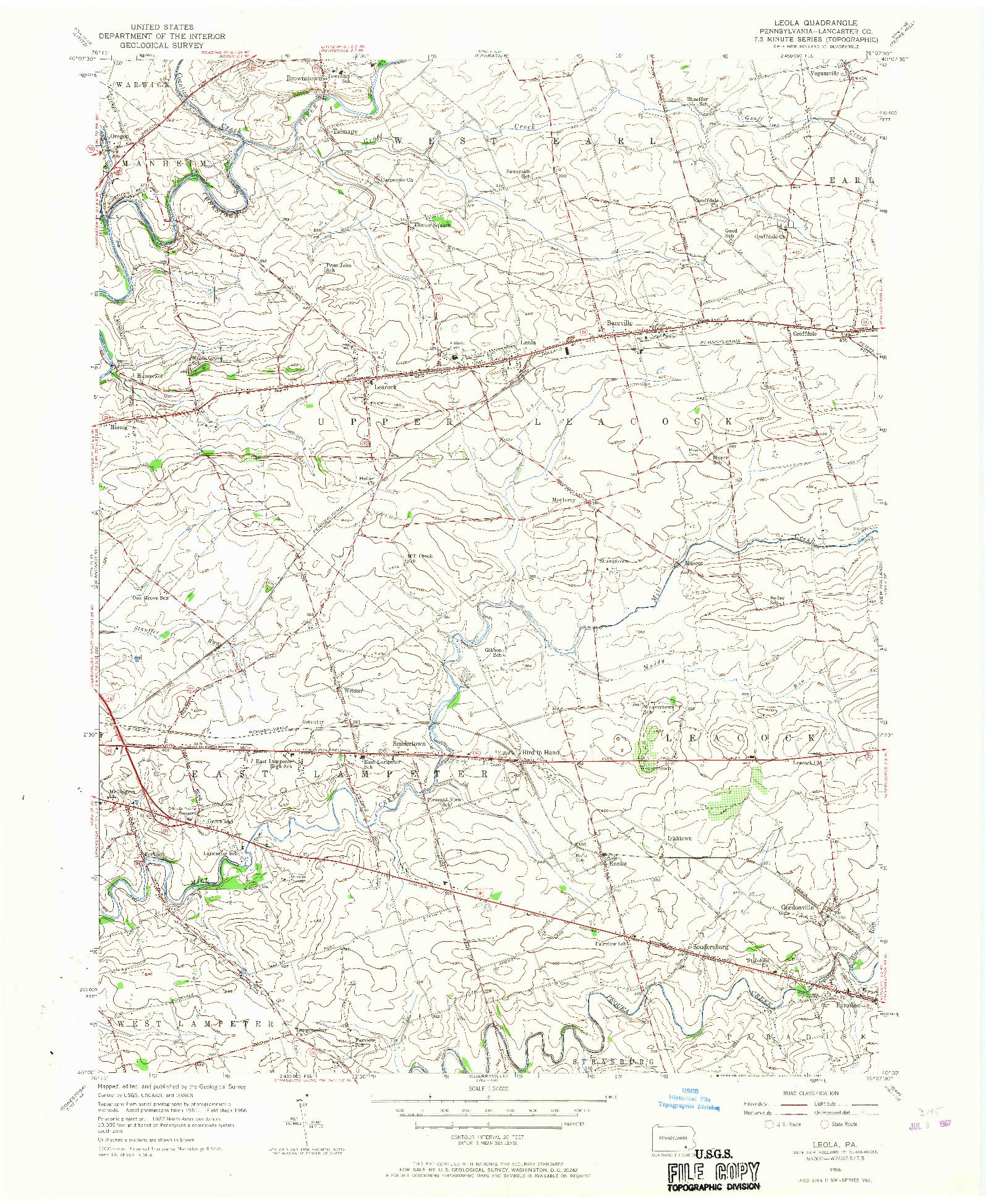 USGS 1:24000-SCALE QUADRANGLE FOR LEOLA, PA 1956