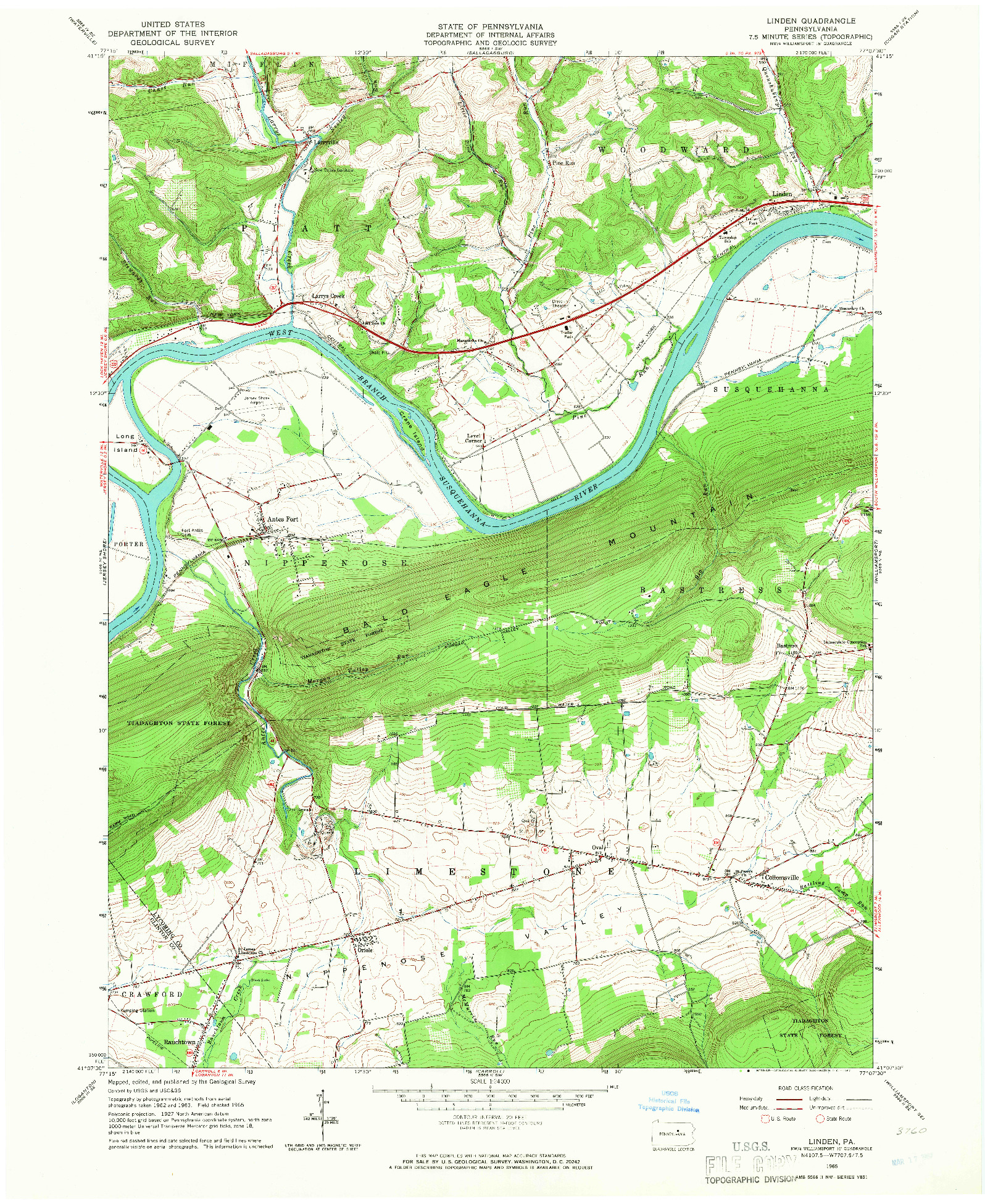 USGS 1:24000-SCALE QUADRANGLE FOR LINDEN, PA 1965