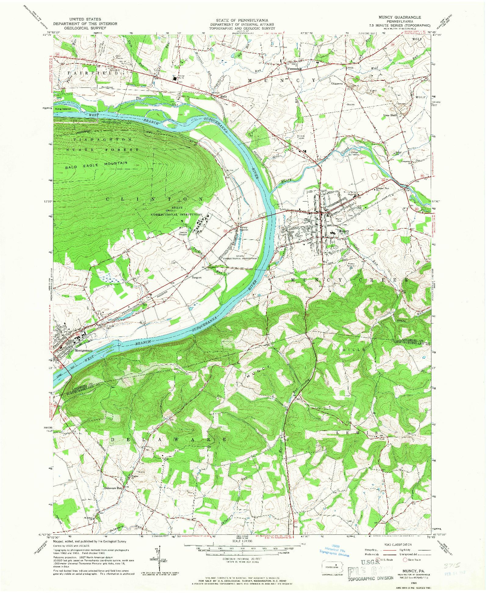 USGS 1:24000-SCALE QUADRANGLE FOR MUNCY, PA 1965