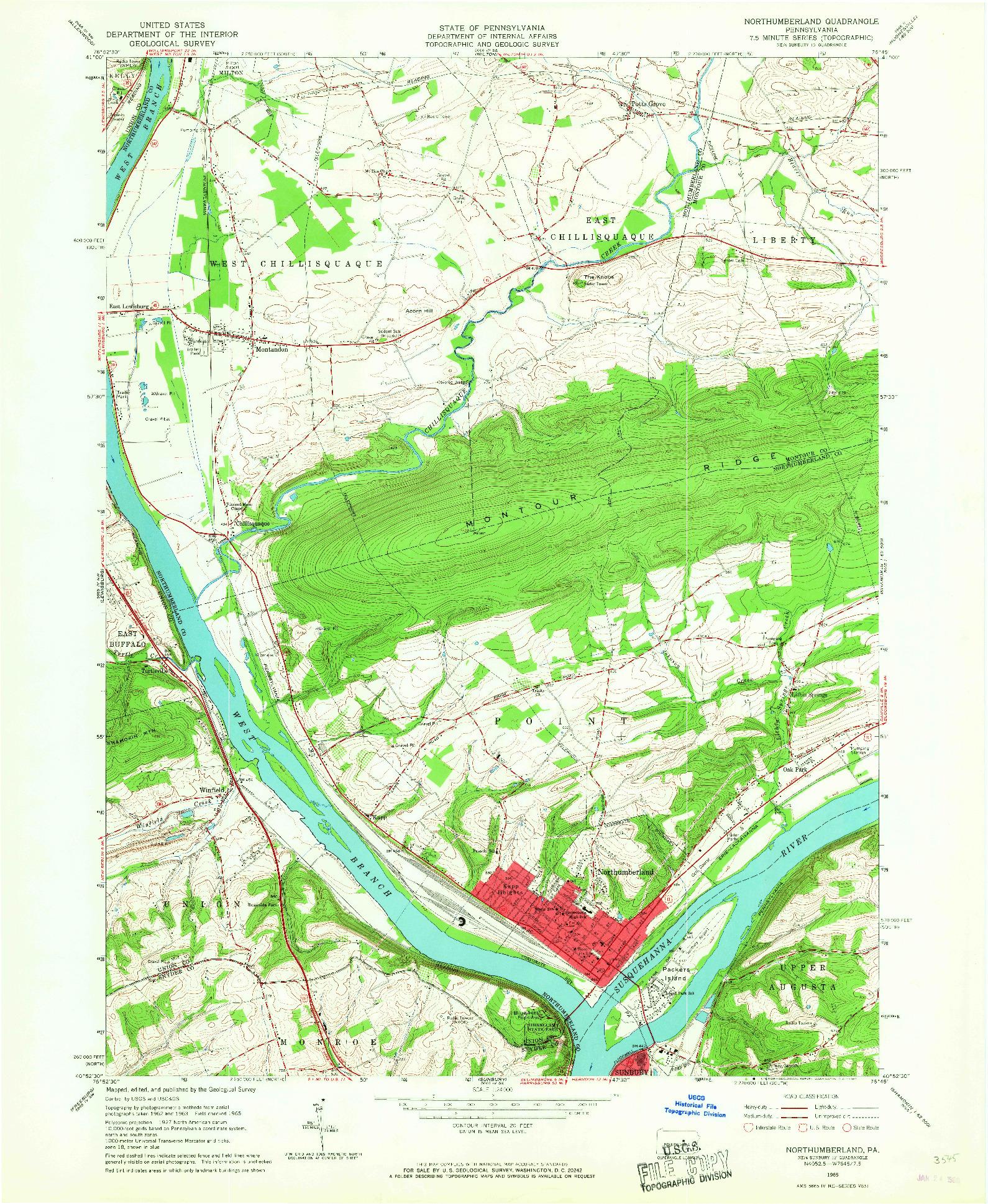 USGS 1:24000-SCALE QUADRANGLE FOR NORTHUMBERLAND, PA 1965