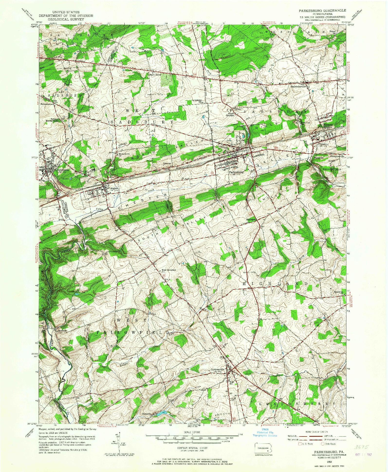 USGS 1:24000-SCALE QUADRANGLE FOR PARKESBURG, PA 1953