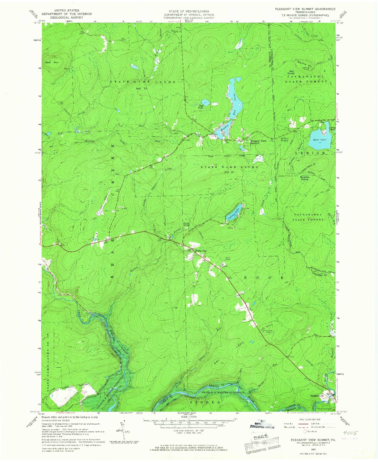USGS 1:24000-SCALE QUADRANGLE FOR PLEASANT VIEW SUMMIT, PA 1965