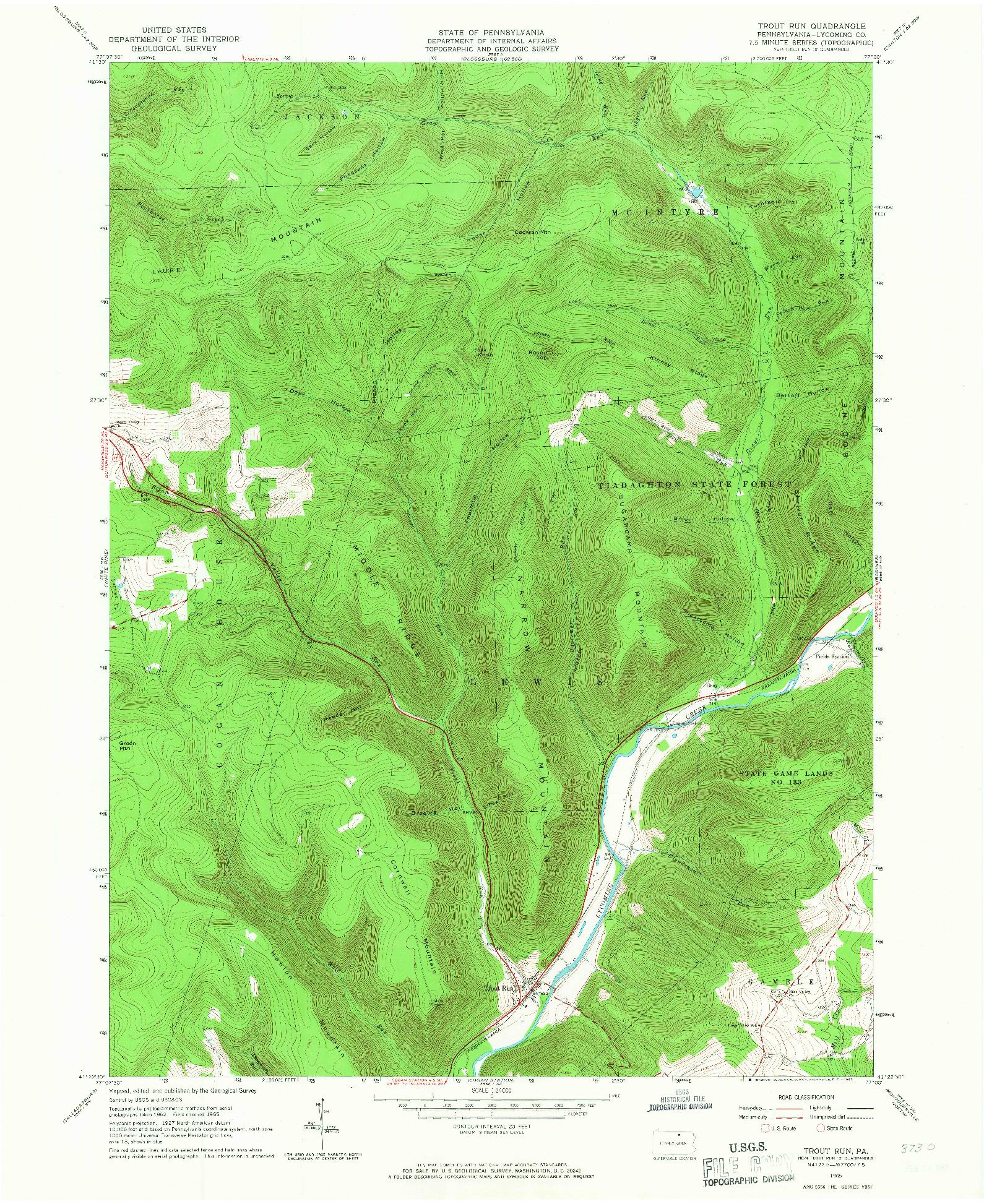 USGS 1:24000-SCALE QUADRANGLE FOR TROUT RUN, PA 1965