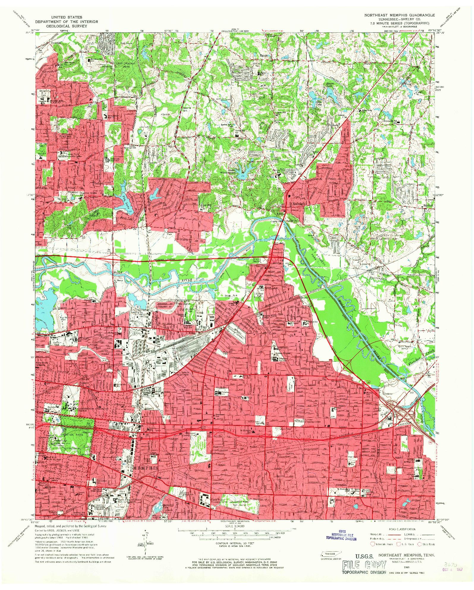USGS 1:24000-SCALE QUADRANGLE FOR NORTHEAST MEMPHIS, TN 1965