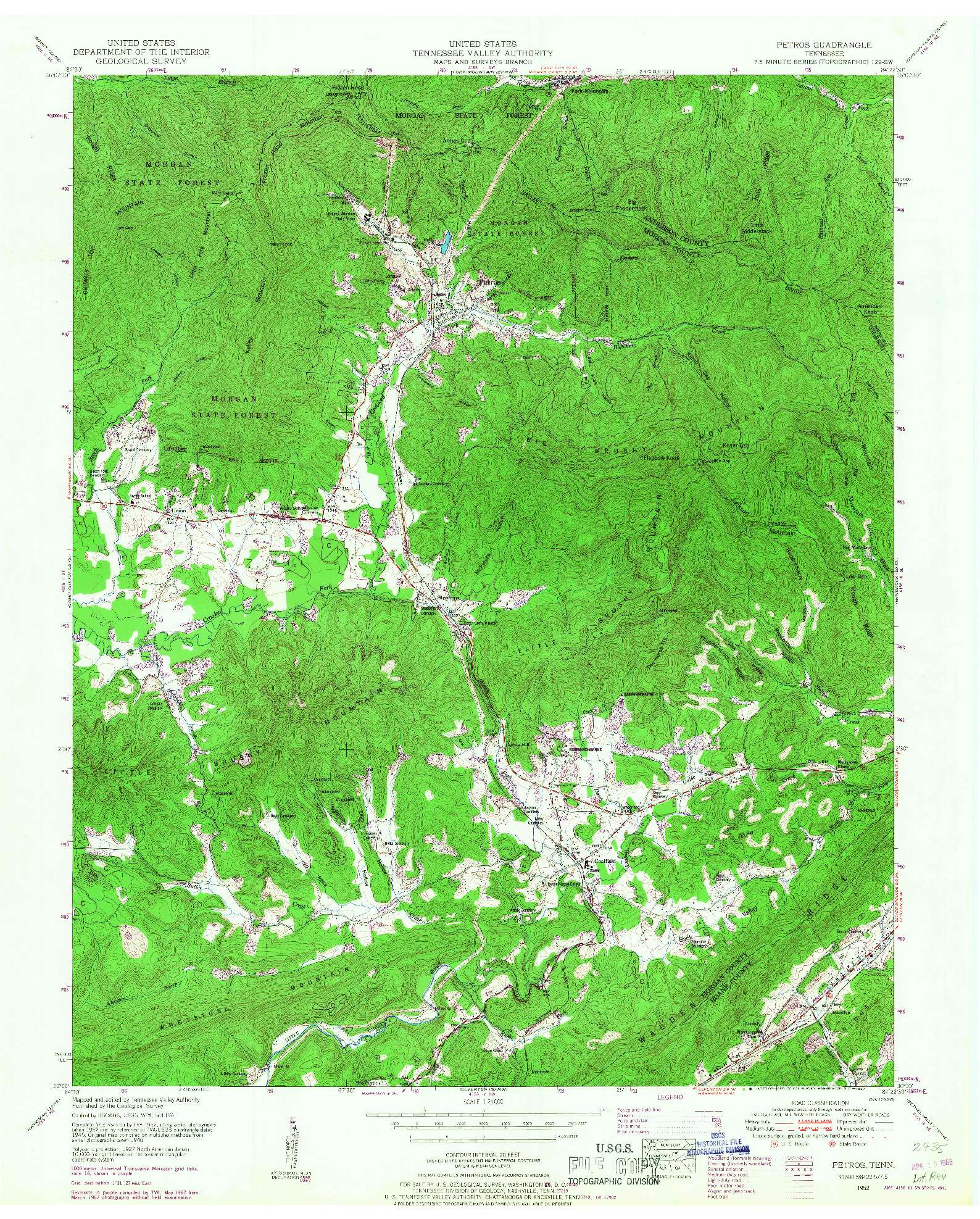 USGS 1:24000-SCALE QUADRANGLE FOR PETROS, TN 1952
