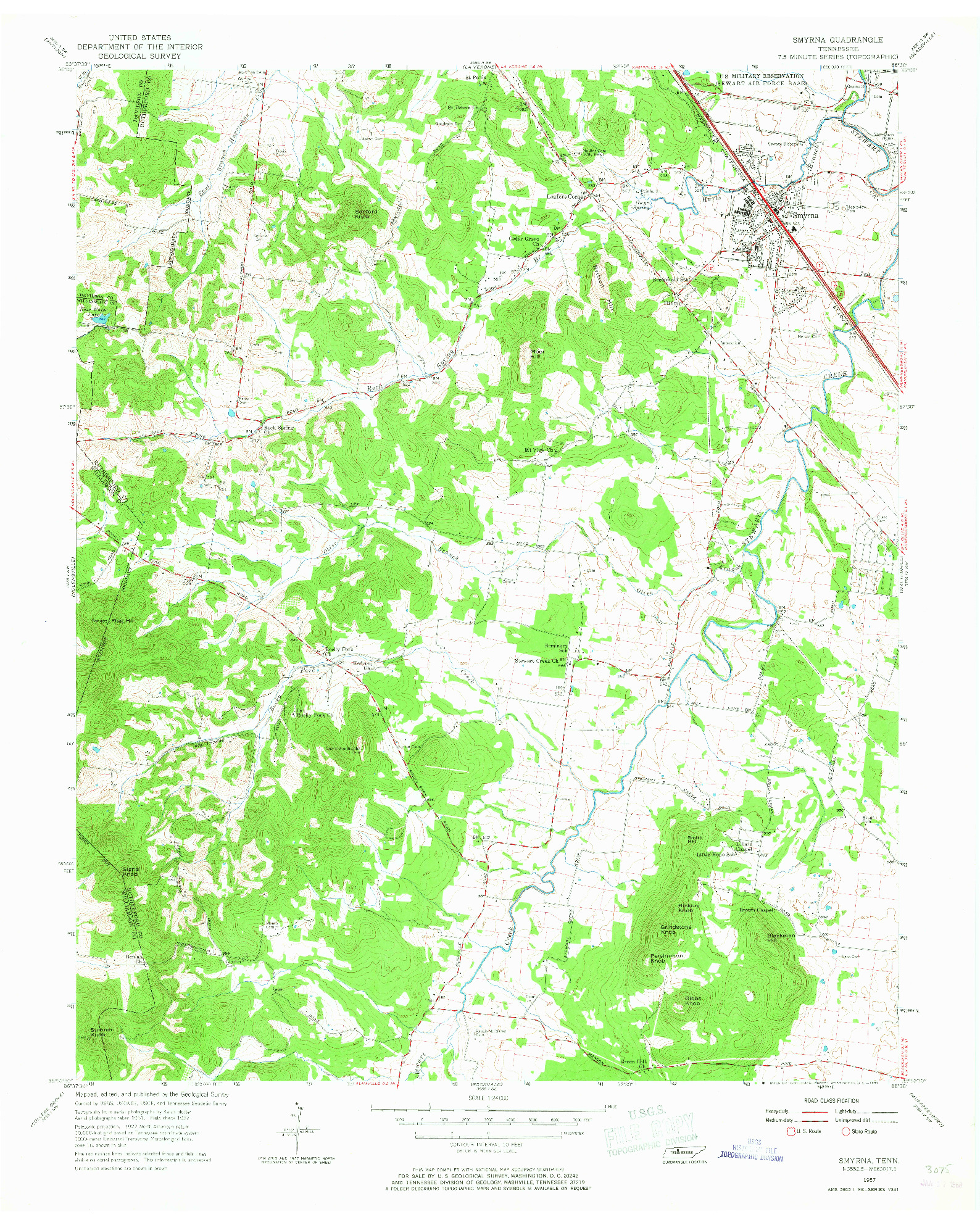 USGS 1:24000-SCALE QUADRANGLE FOR SMYRNA, TN 1957