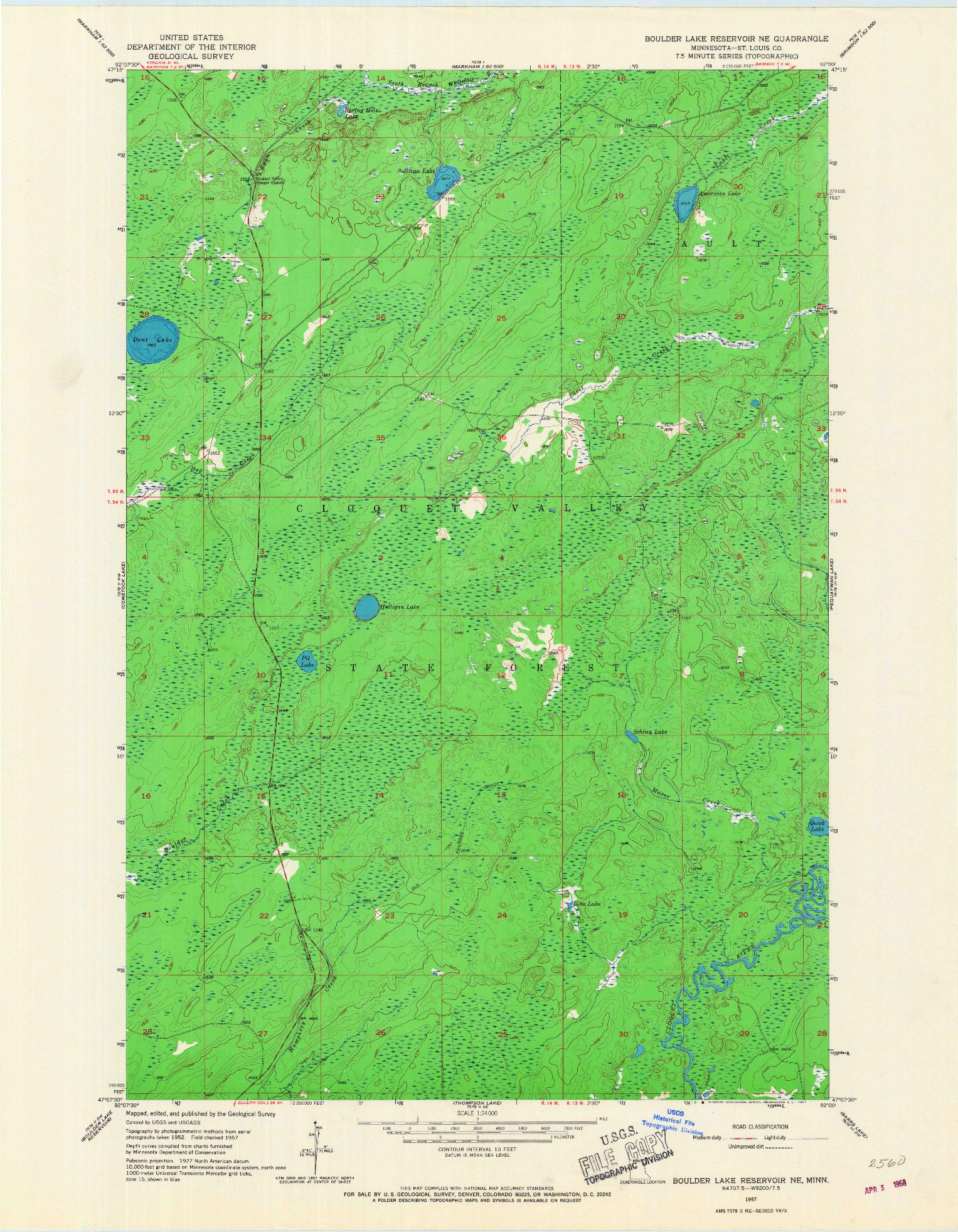 USGS 1:24000-SCALE QUADRANGLE FOR BOULDER LAKE RESERVOIR NE, MN 1957