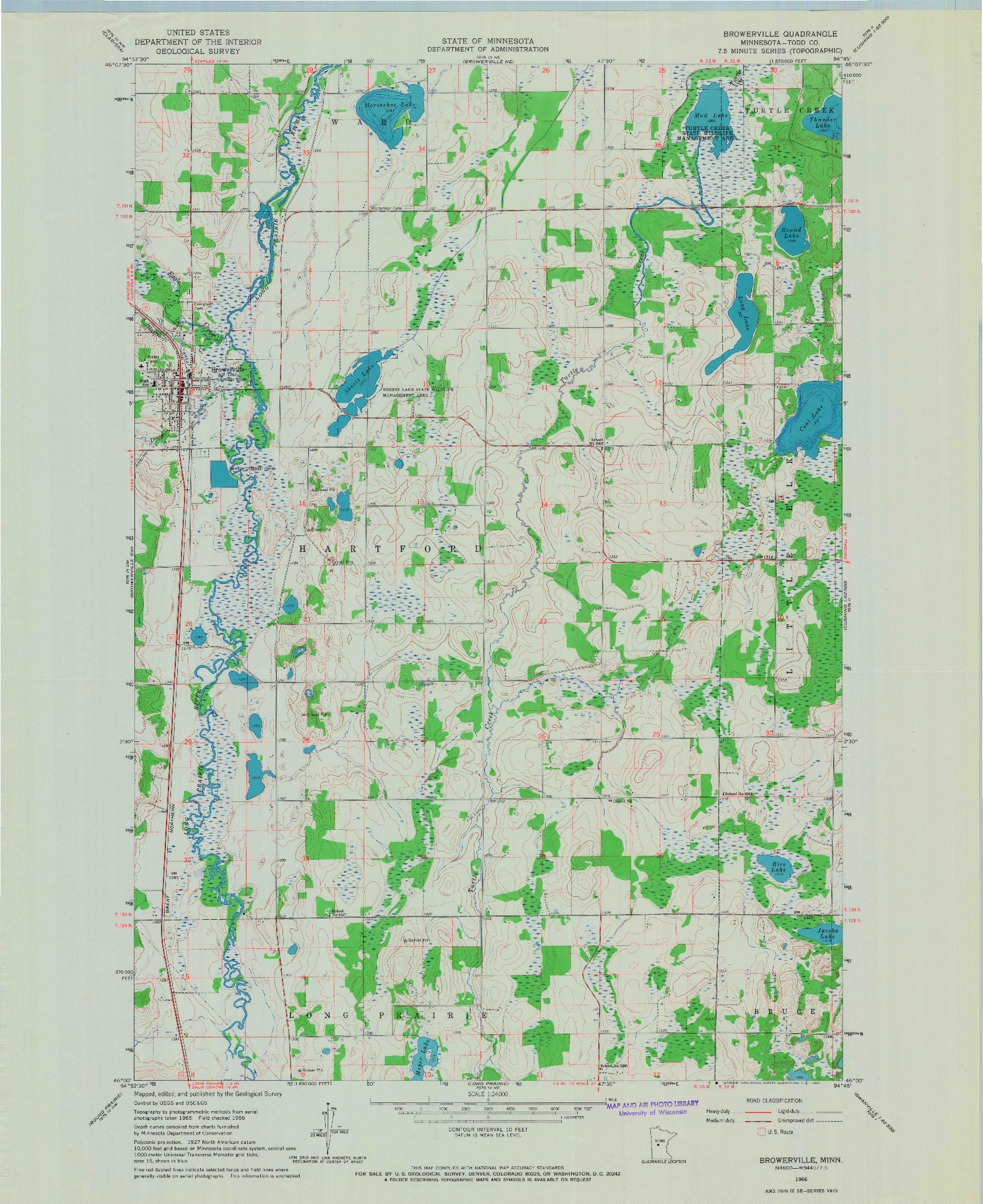USGS 1:24000-SCALE QUADRANGLE FOR BROWERVILLE, MN 1966