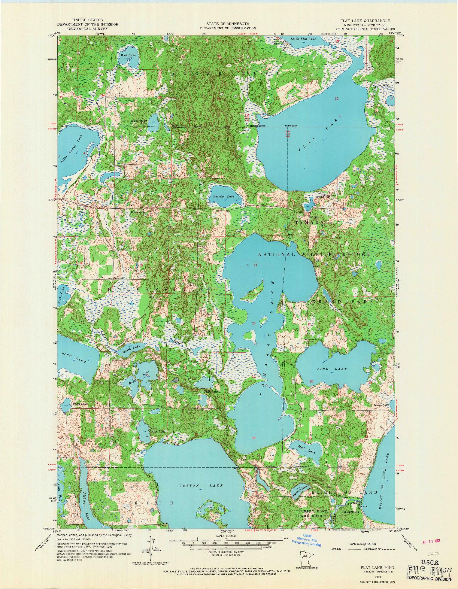 USGS 1:24000-SCALE QUADRANGLE FOR FLAT LAKE, MN 1959