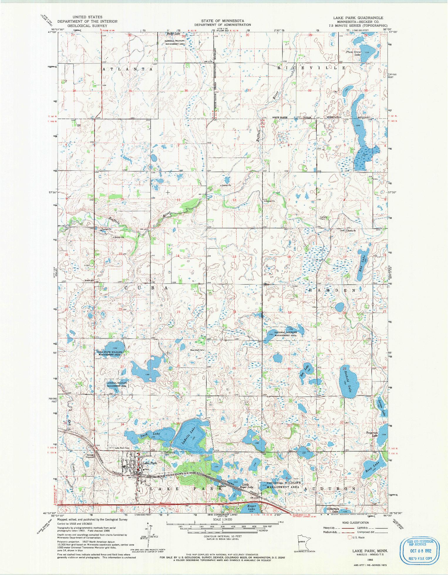 USGS 1:24000-SCALE QUADRANGLE FOR LAKE PARK, MN 1966