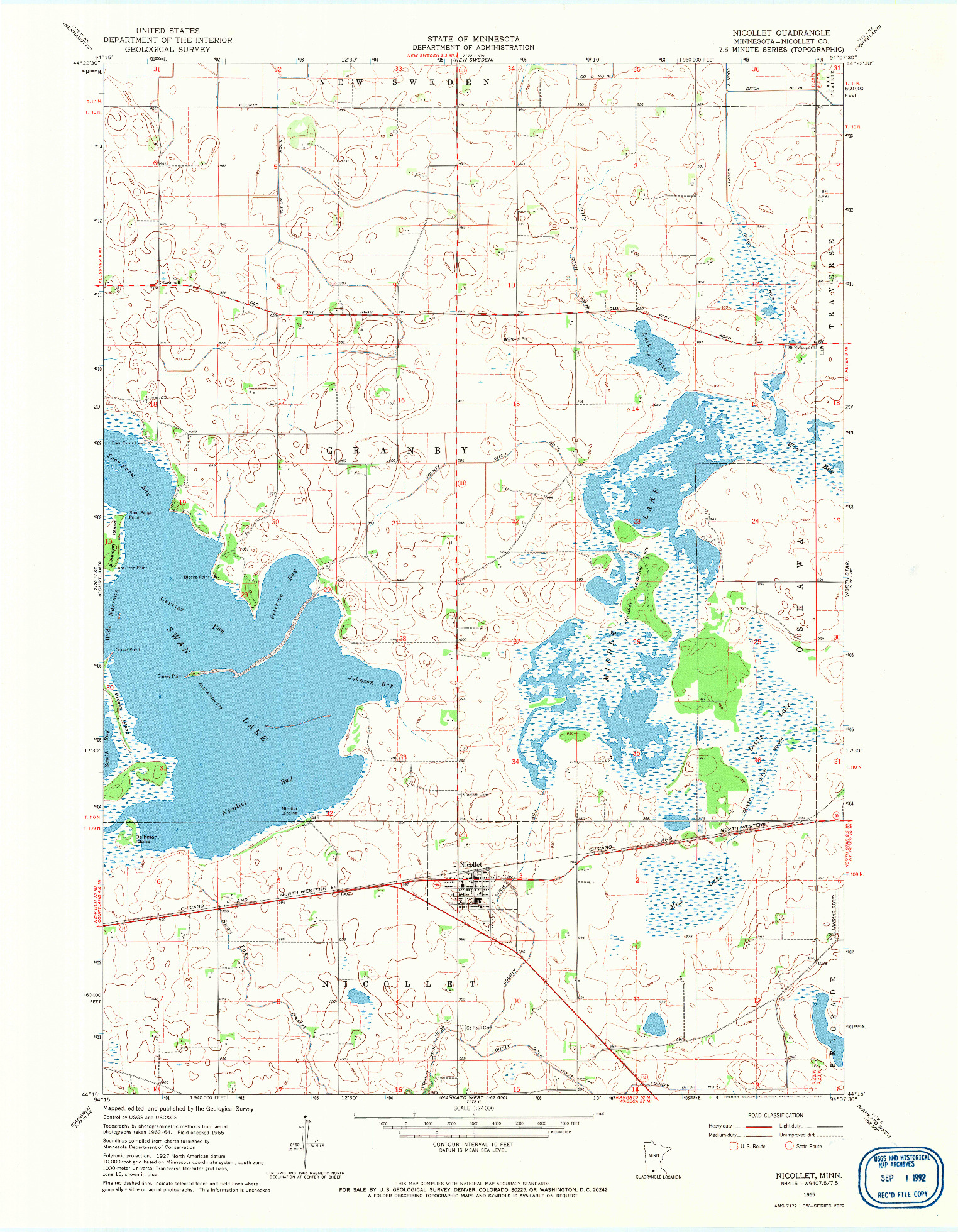 USGS 1:24000-SCALE QUADRANGLE FOR NICOLLET, MN 1965