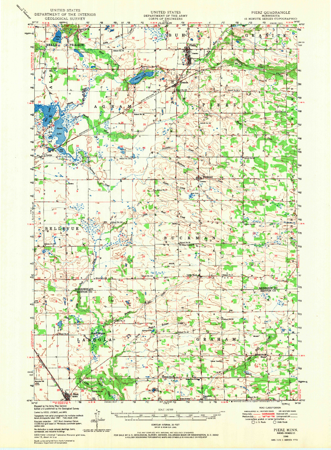 USGS 1:62500-SCALE QUADRANGLE FOR PIERZ, MN 1948