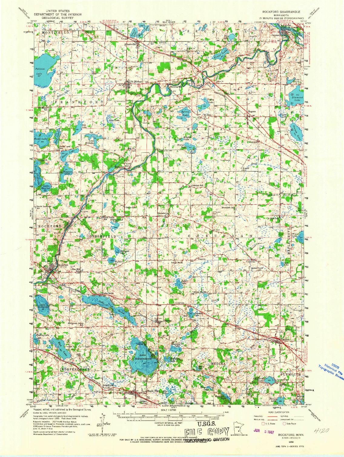 USGS 1:62500-SCALE QUADRANGLE FOR ROCKFORD, MN 1958