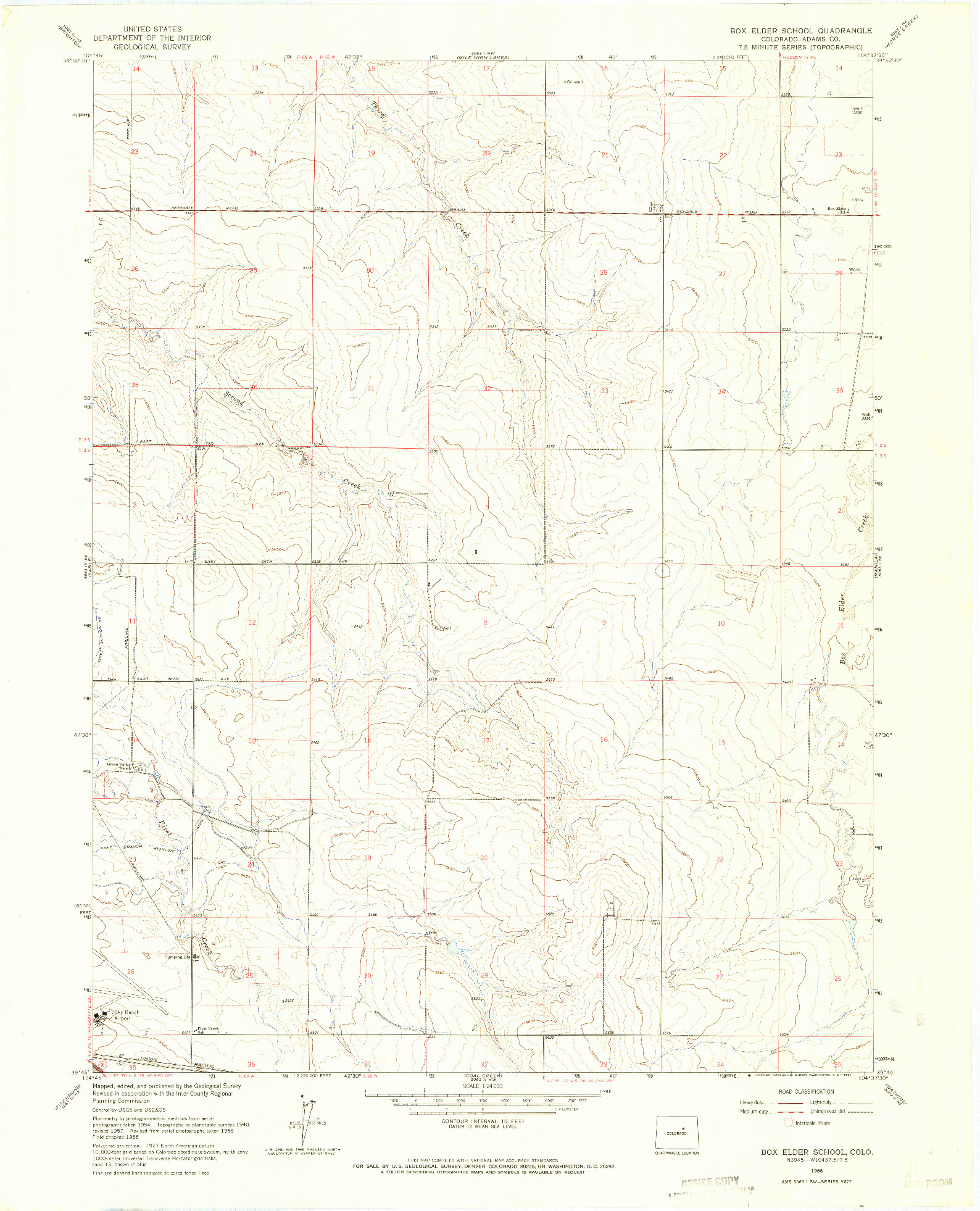 USGS 1:24000-SCALE QUADRANGLE FOR BOX ELDER SCHOOL, CO 1966