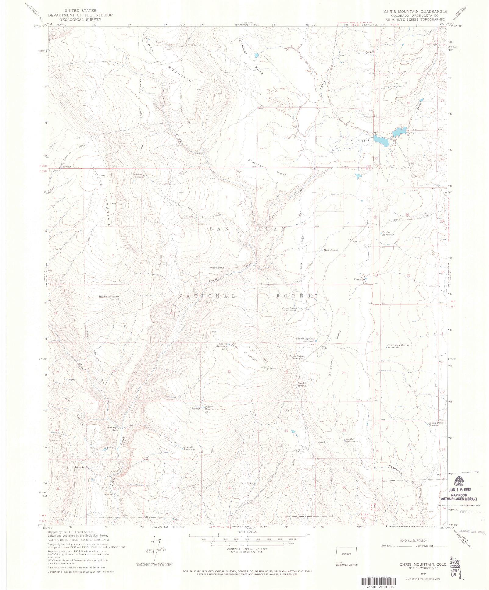 USGS 1:24000-SCALE QUADRANGLE FOR CHRIS MOUNTAIN, CO 1964