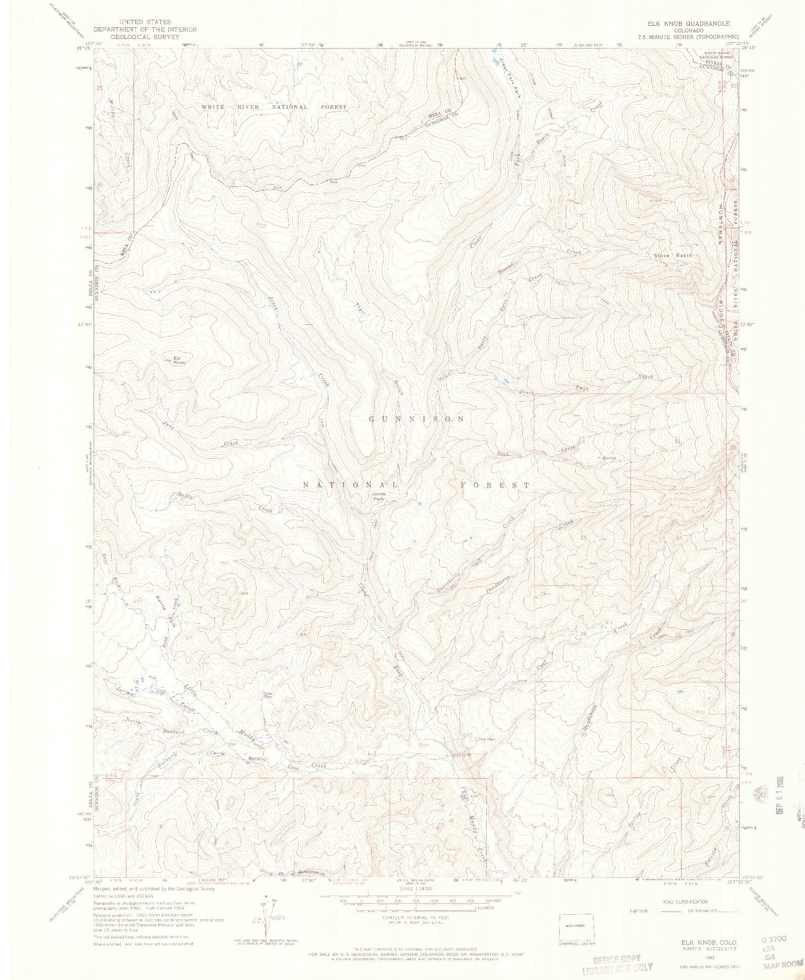 USGS 1:24000-SCALE QUADRANGLE FOR ELK KNOB, CO 1963