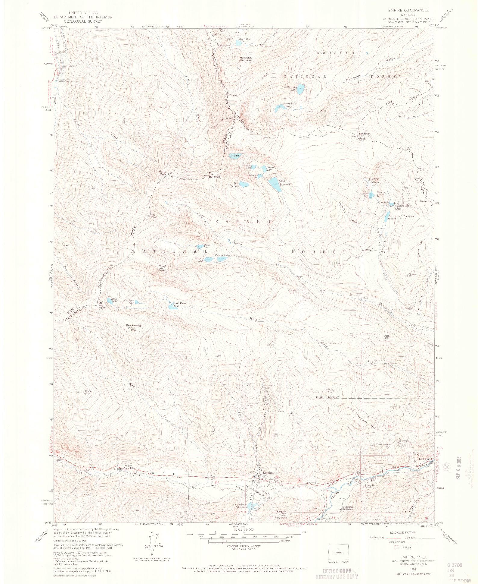 USGS 1:24000-SCALE QUADRANGLE FOR EMPIRE, CO 1958