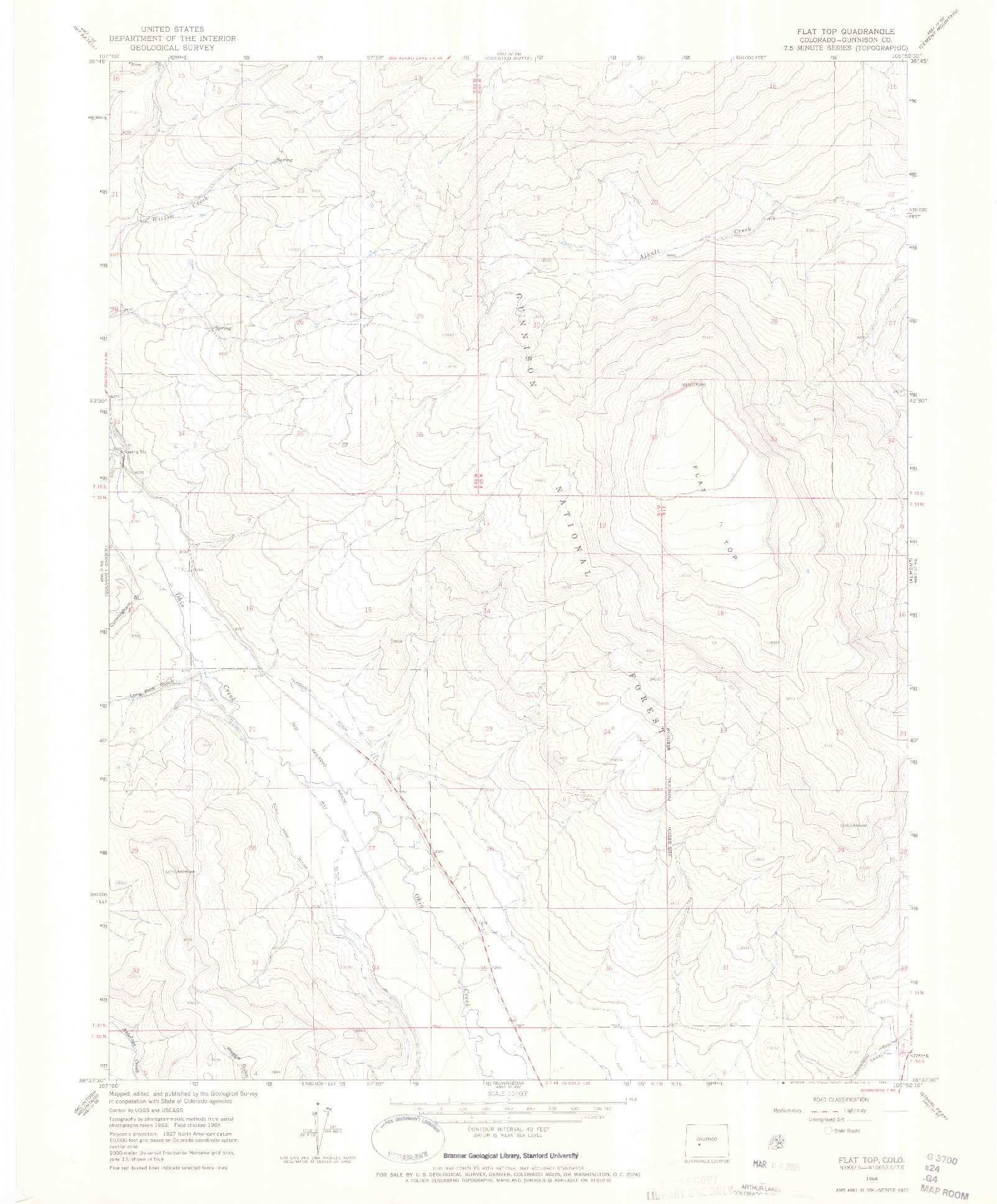 USGS 1:24000-SCALE QUADRANGLE FOR FLAT TOP, CO 1964