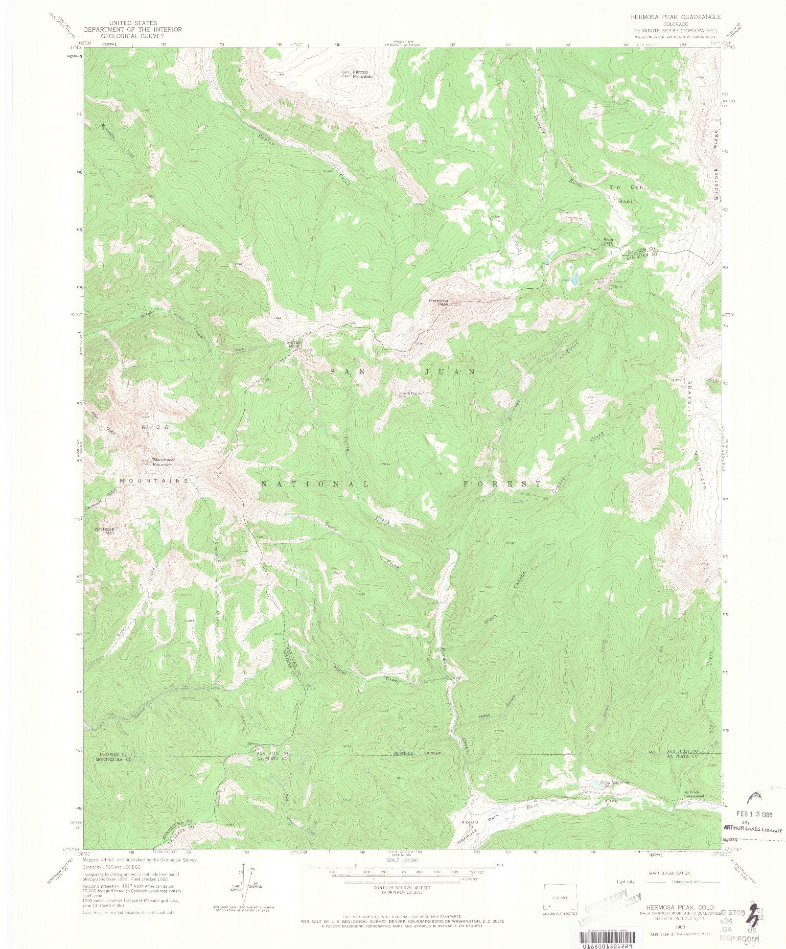 USGS 1:24000-SCALE QUADRANGLE FOR HERMOSA PEAK, CO 1960