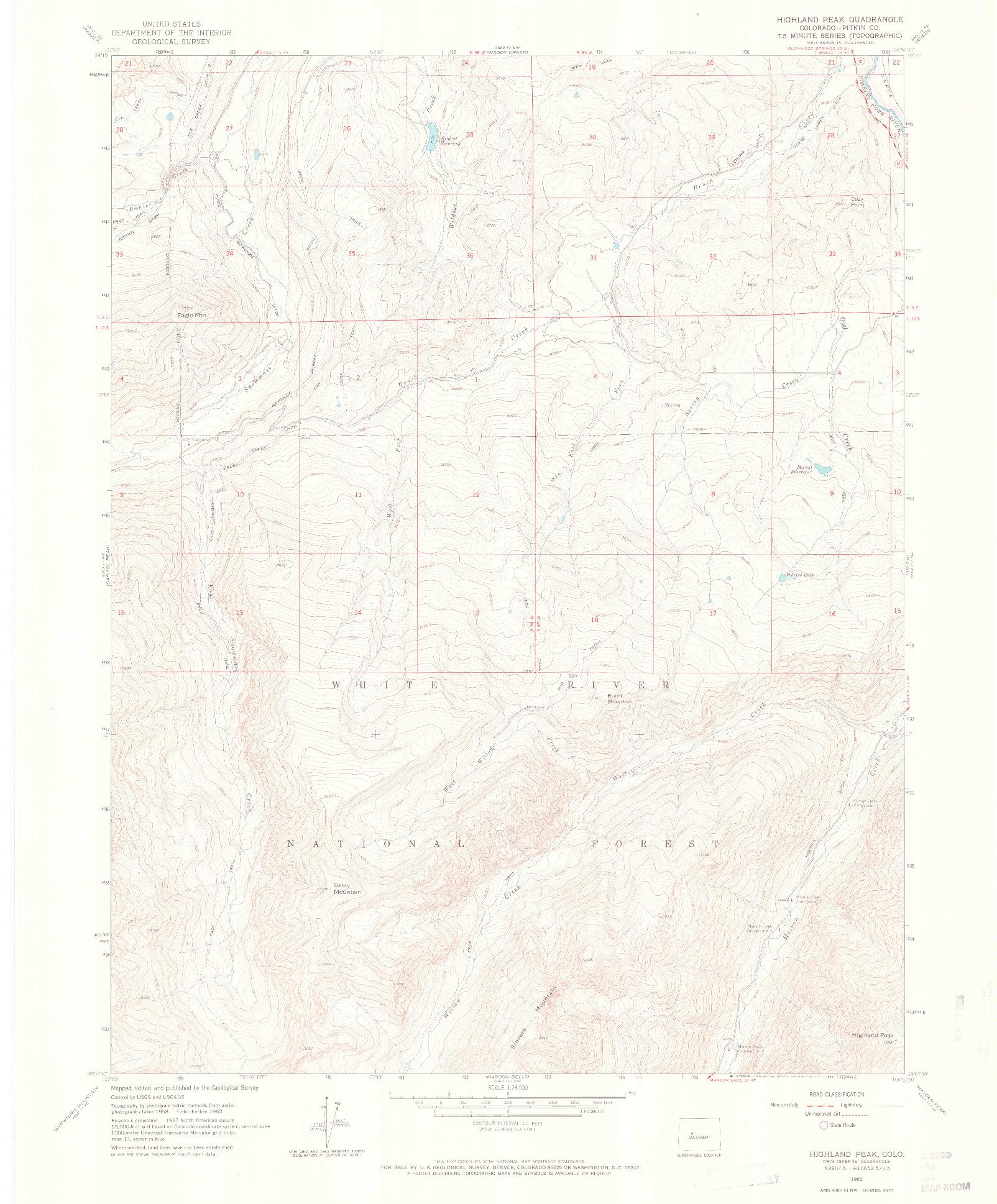 USGS 1:24000-SCALE QUADRANGLE FOR HIGHLAND PEAK, CO 1960