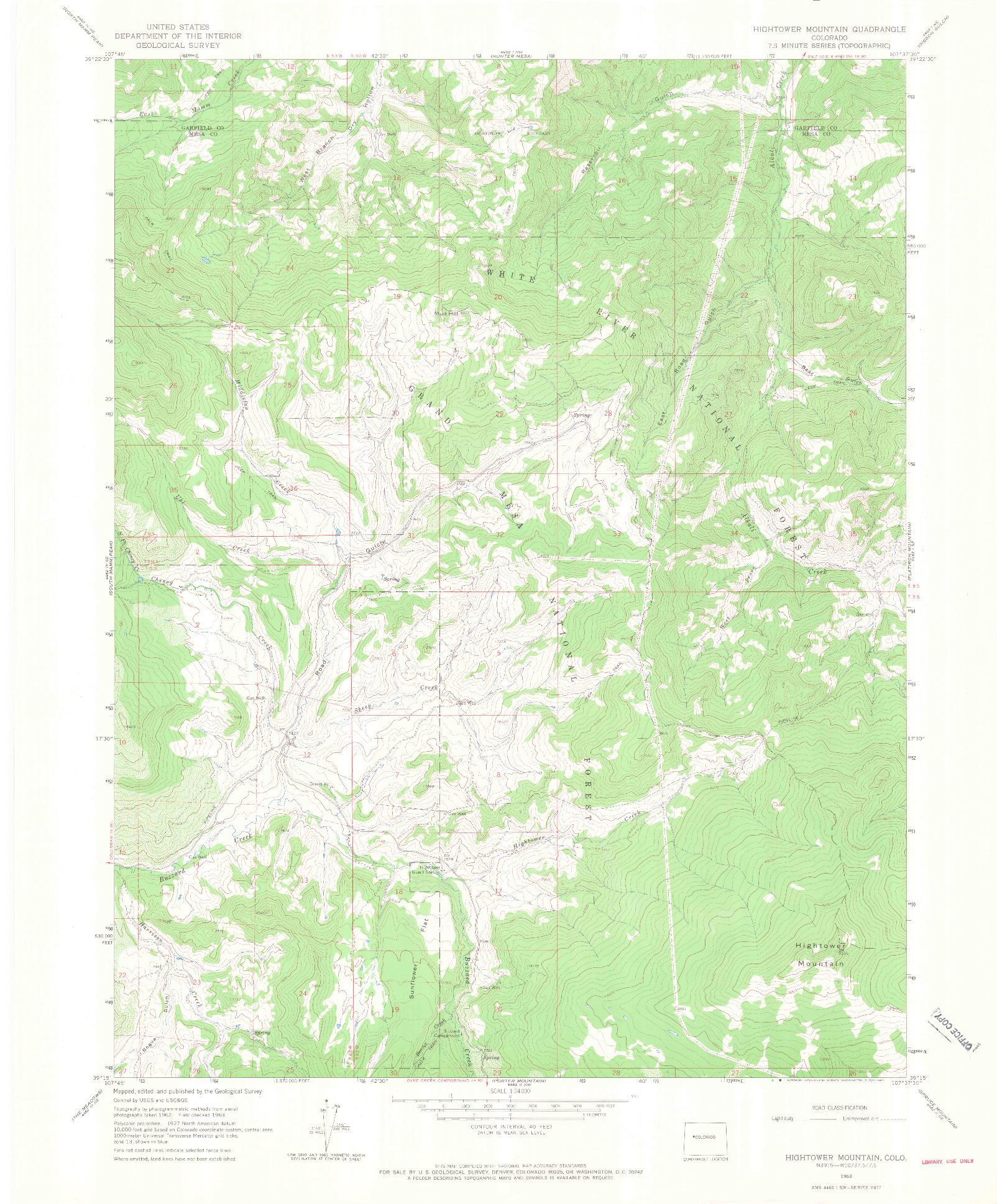 USGS 1:24000-SCALE QUADRANGLE FOR HIGHTOWER MOUNTAIN, CO 1963