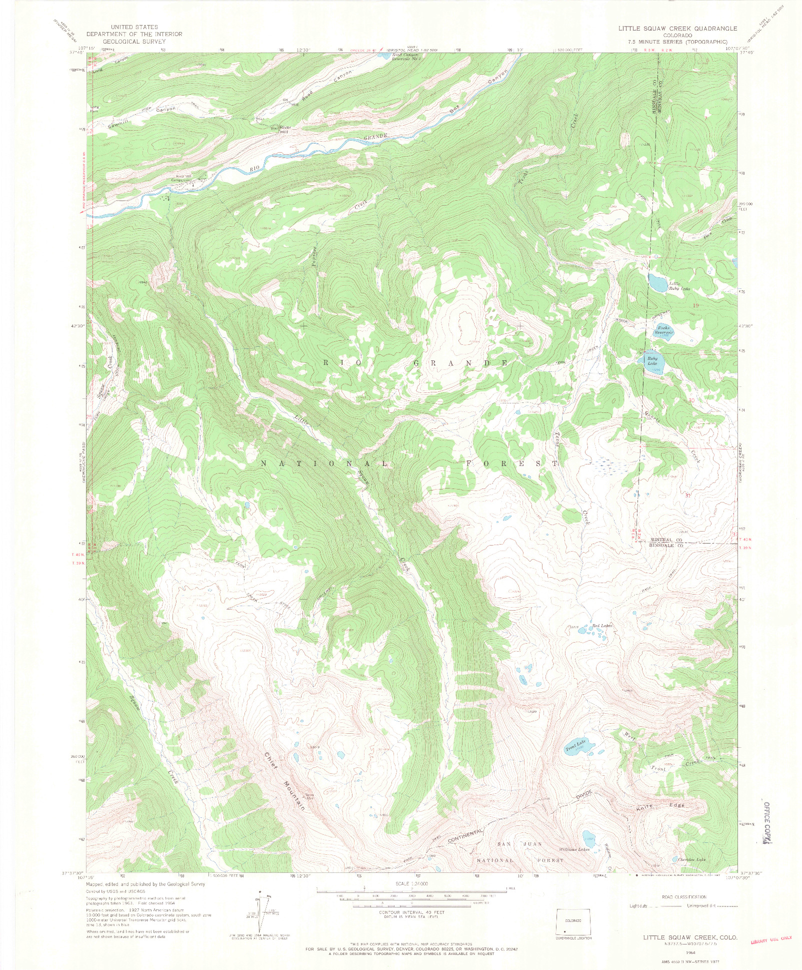 USGS 1:24000-SCALE QUADRANGLE FOR LITTLE SQUAW CREEK, CO 1964
