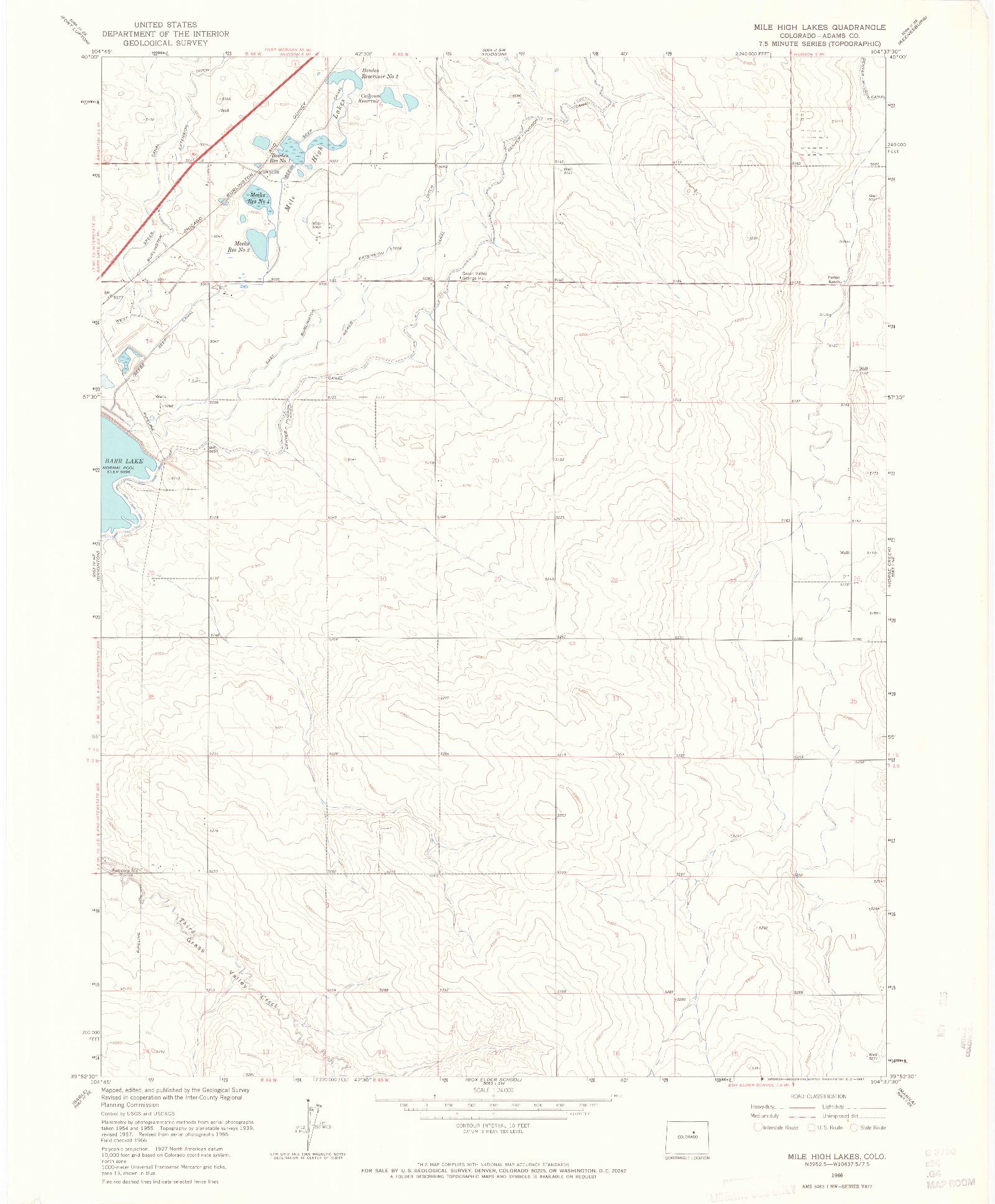 USGS 1:24000-SCALE QUADRANGLE FOR MILE HIGH LAKES, CO 1966