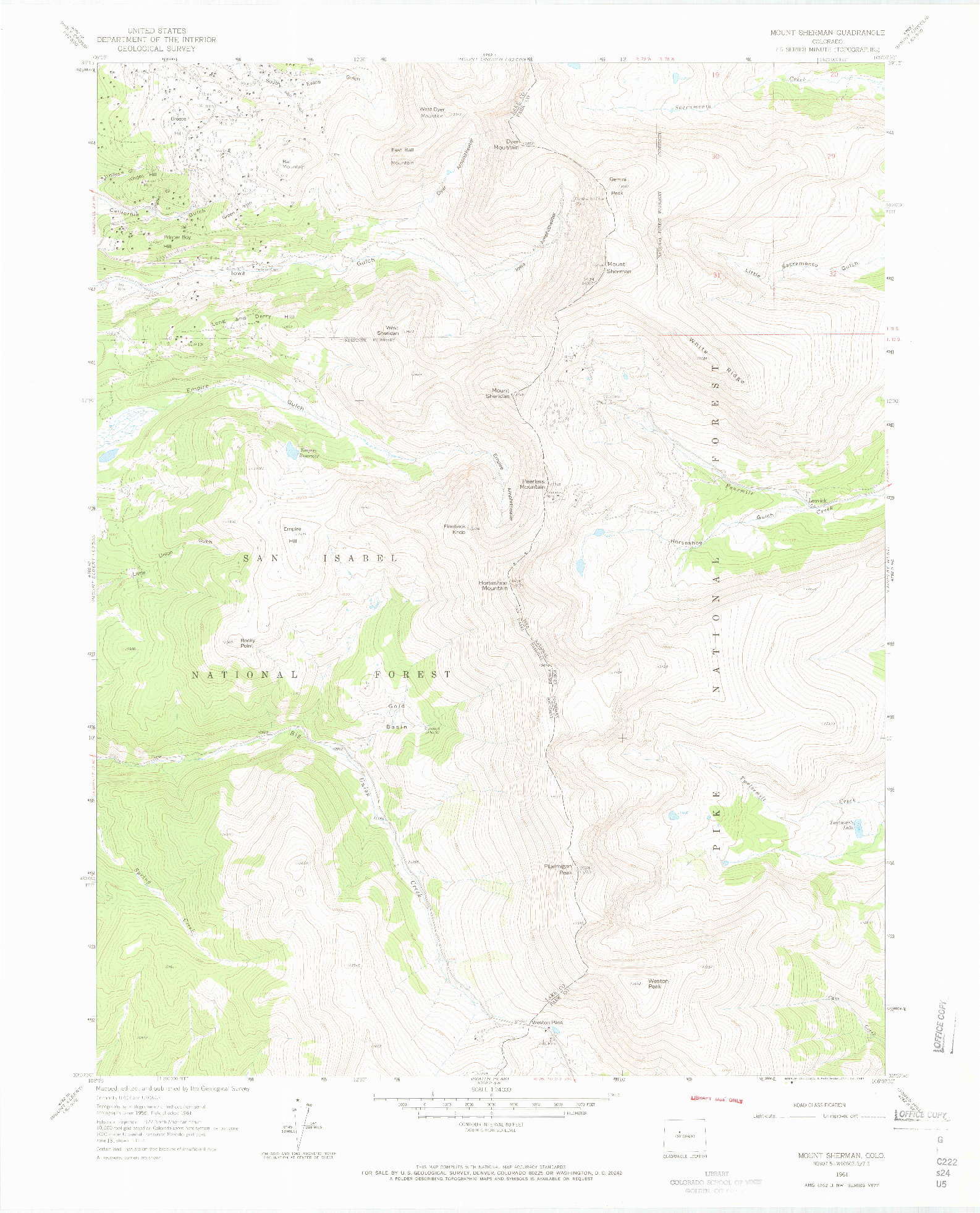 USGS 1:24000-SCALE QUADRANGLE FOR MOUNT SHERMAN, CO 1961
