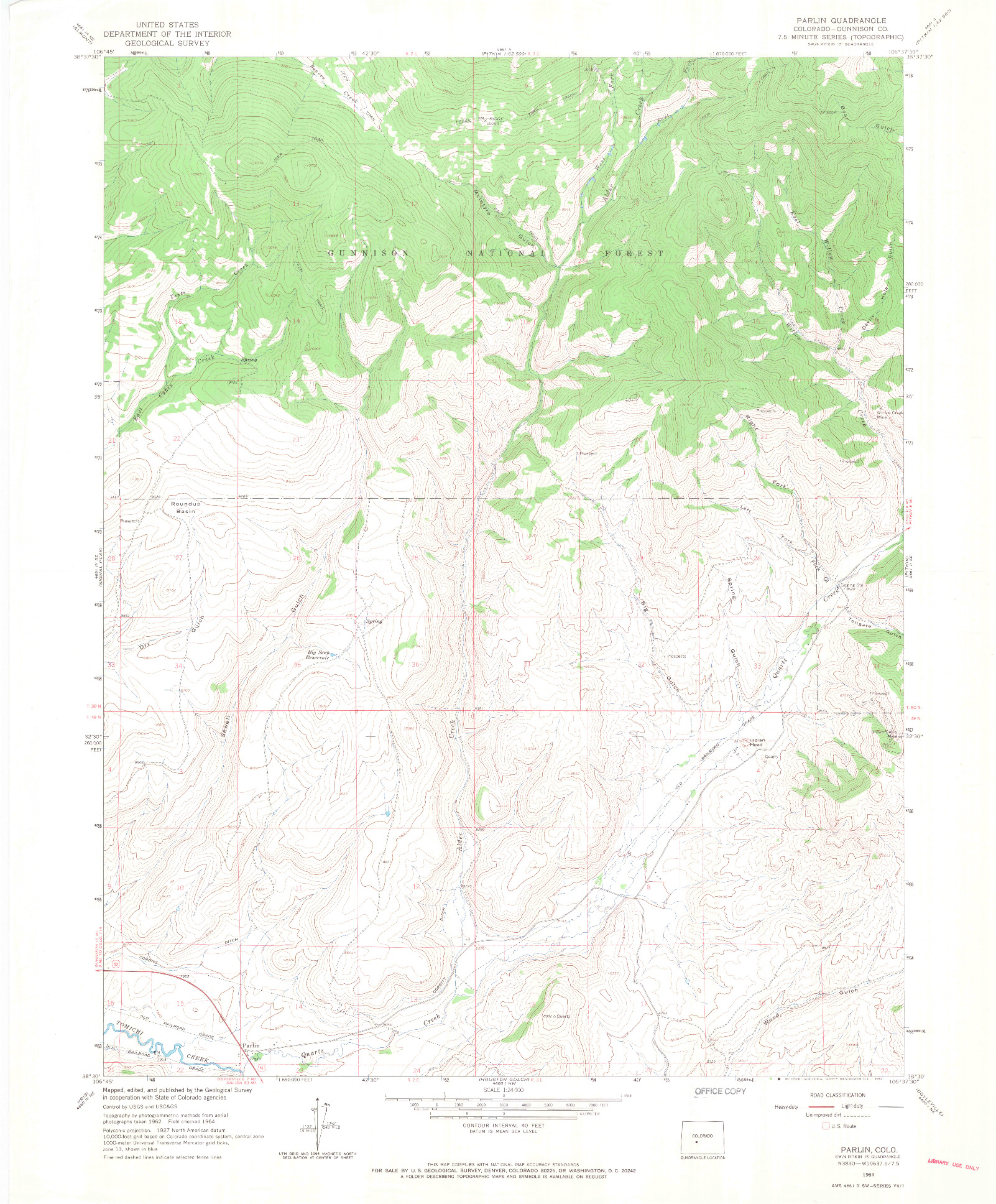 USGS 1:24000-SCALE QUADRANGLE FOR PARLIN, CO 1964