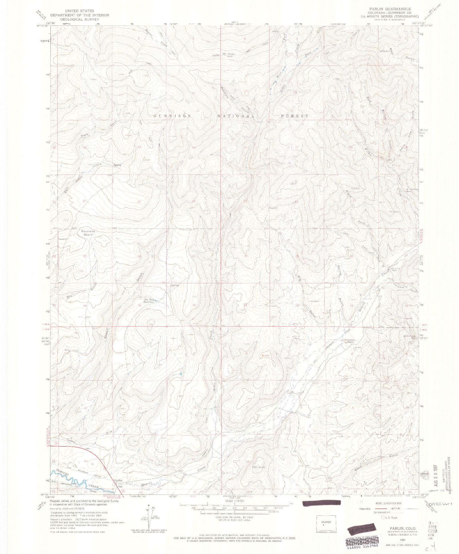 USGS 1:24000-SCALE QUADRANGLE FOR PARLIN, CO 1964