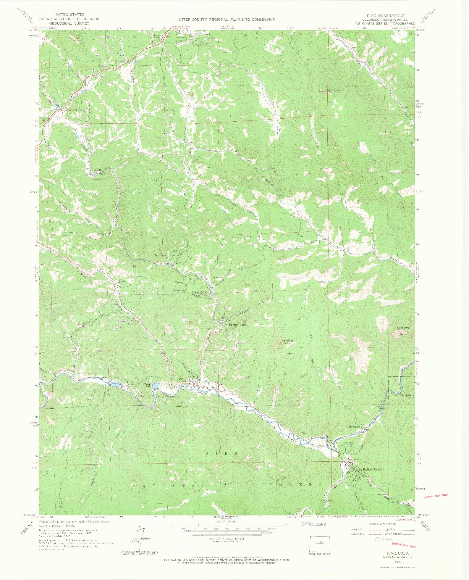 USGS 1:24000-SCALE QUADRANGLE FOR PINE, CO 1965