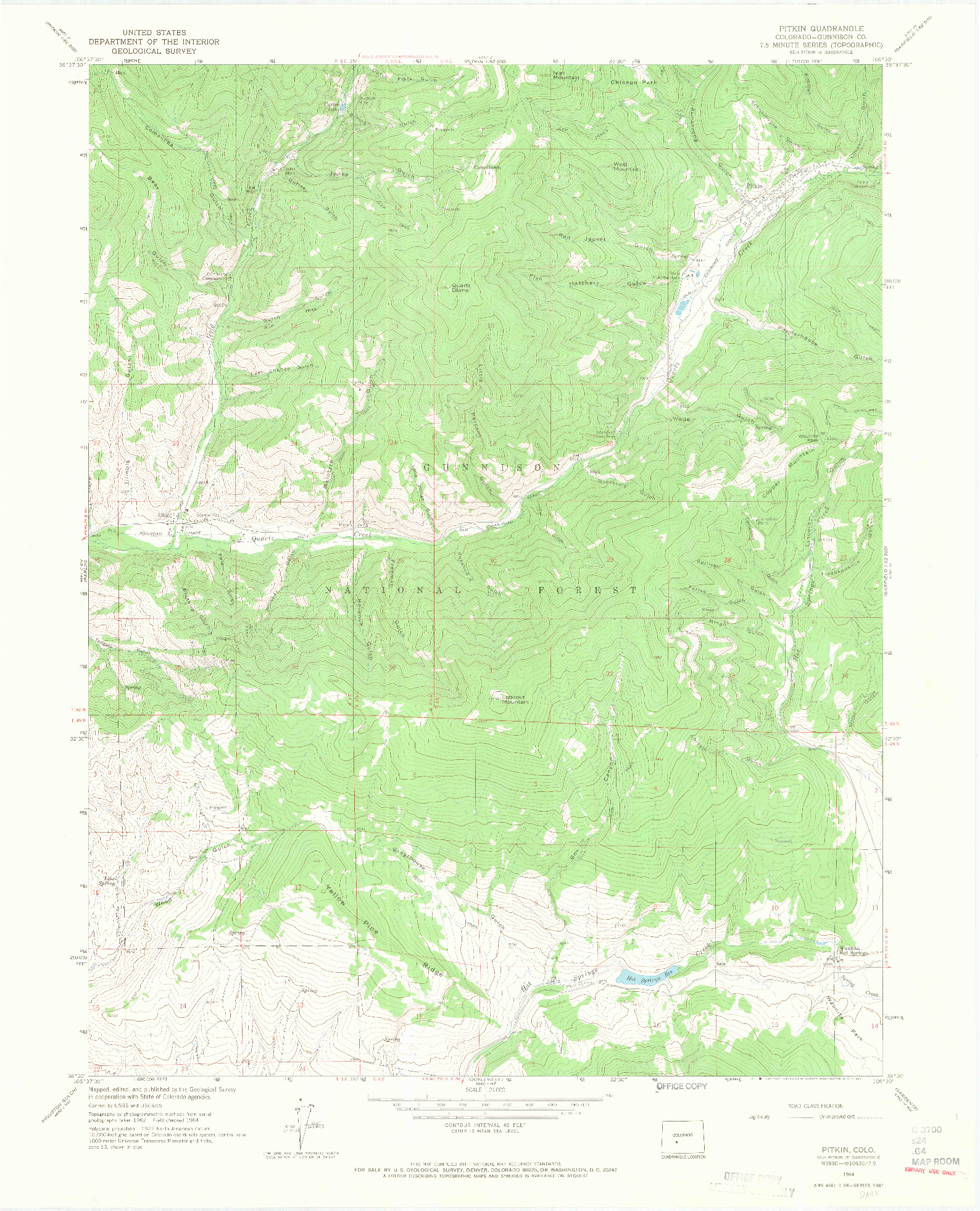 USGS 1:24000-SCALE QUADRANGLE FOR PITKIN, CO 1964