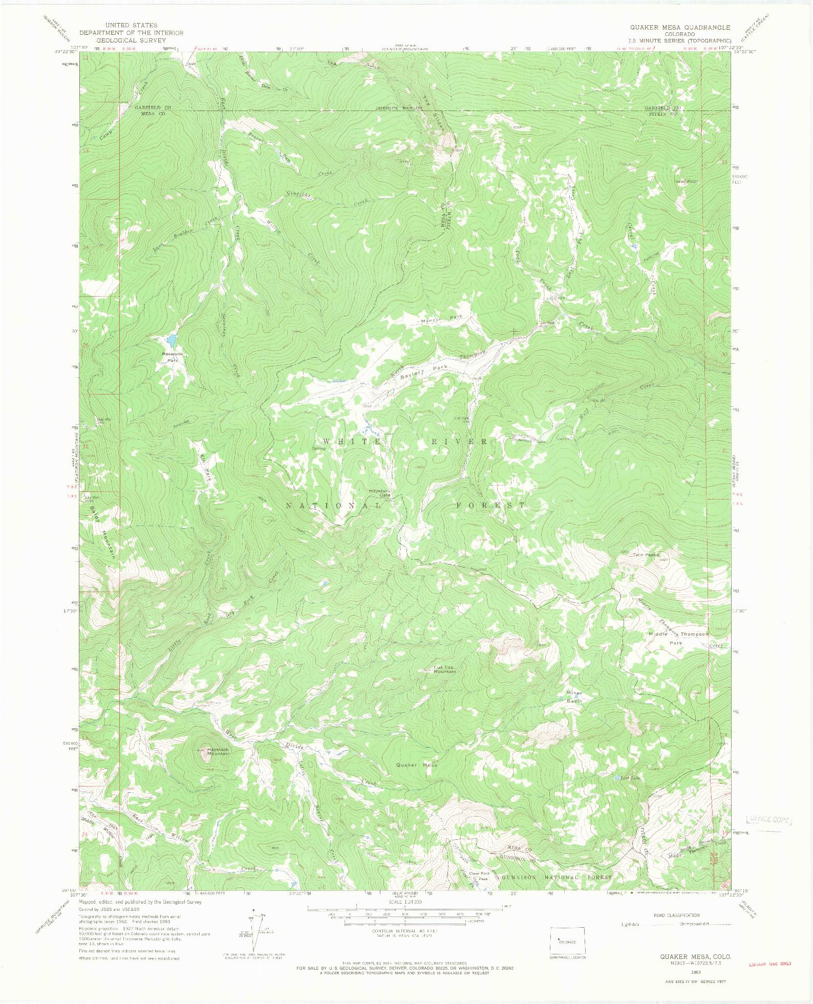 USGS 1:24000-SCALE QUADRANGLE FOR QUAKER MESA, CO 1963